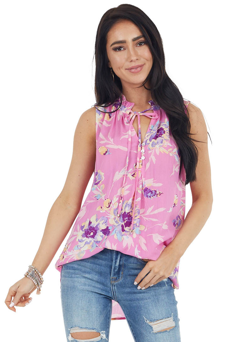 Pink Floral Tank Top with Ruffled Neckline and Tie Detail