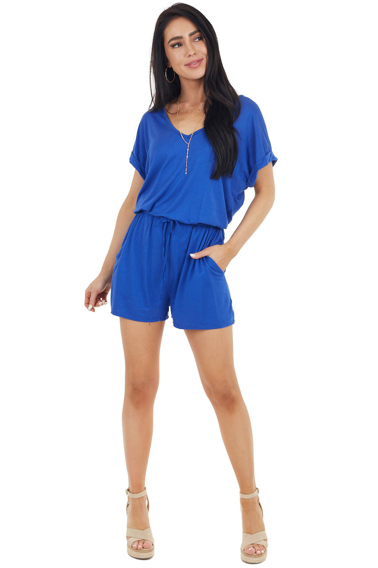 Royal Blue Short Sleeve Stretchy Knit Romper with Pockets