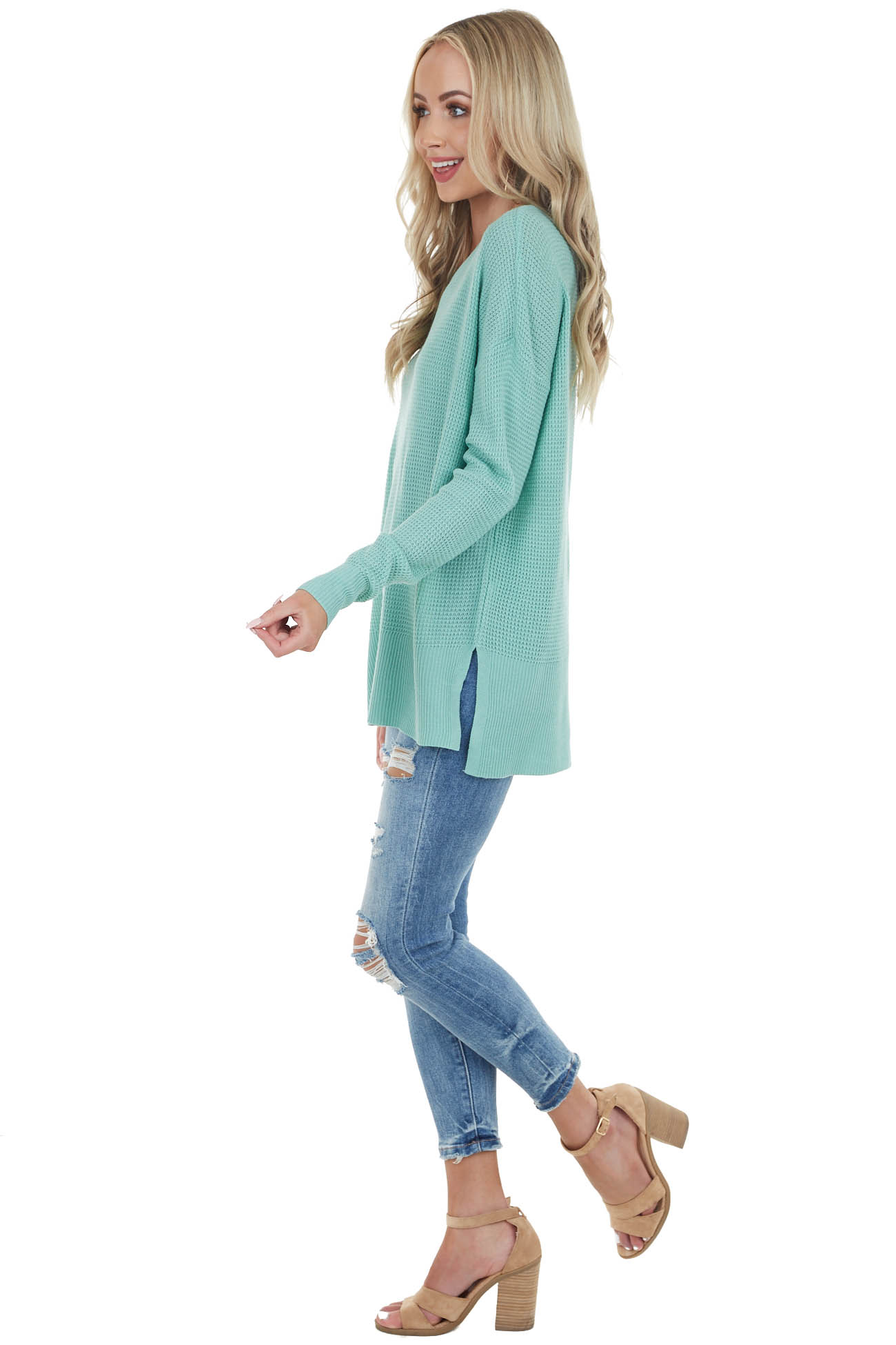 Seafoam Long Sleeve Waffle Knit Top with Side Slits