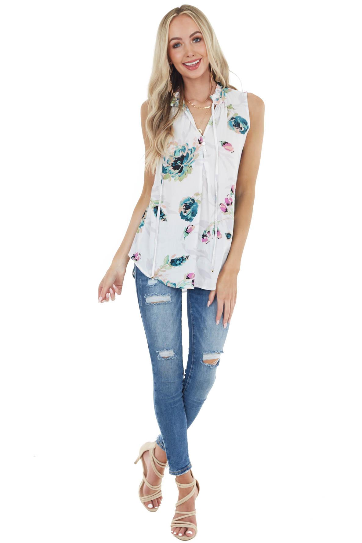 Ivory Floral Tank Top with Ruffled Neckline and Tie Detail