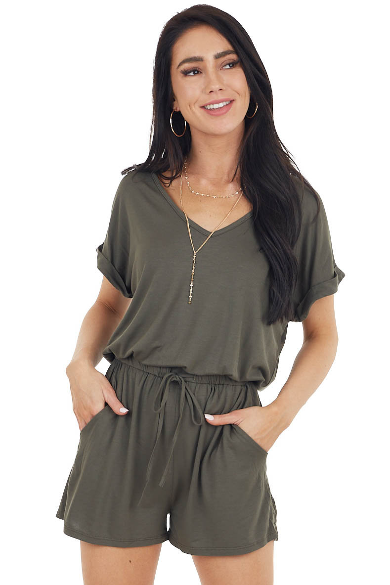 Army Green Short Sleeve Stretchy Knit Romper with Pockets