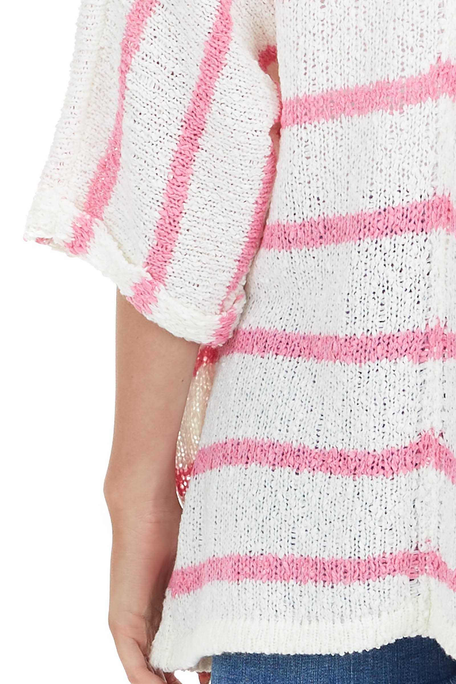Baby Pink Striped Textured 3/4 Sleeve Knit Cardigan