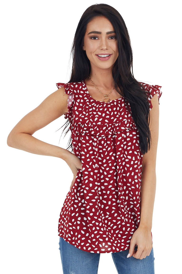 Cherry Red and White Spotted Babydoll Tank Top with Ruffles