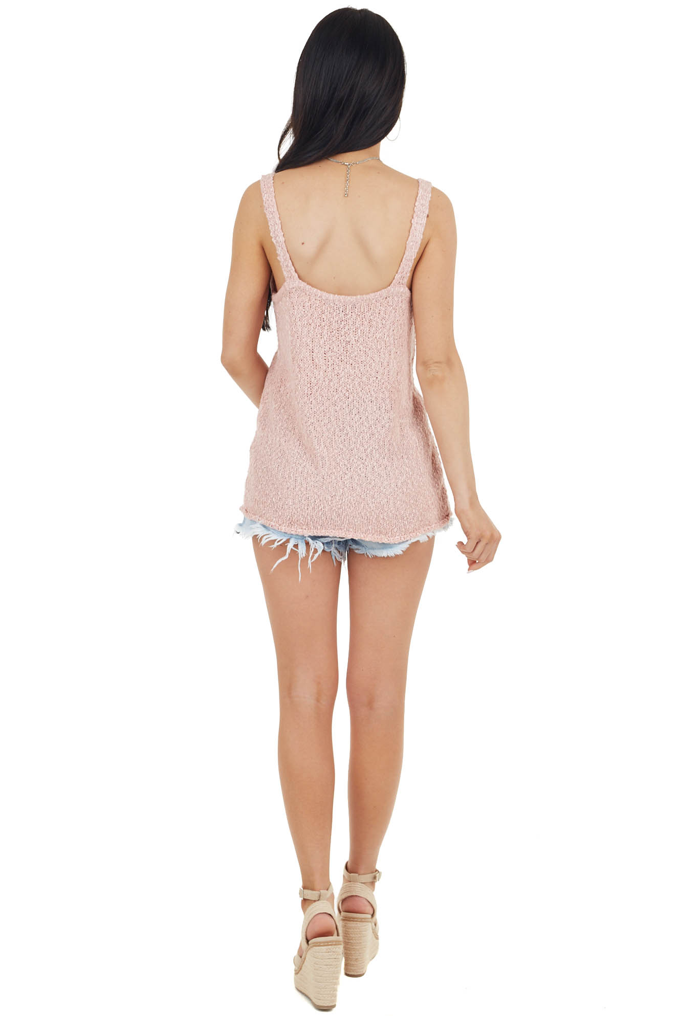 Dusty Blush Textured Sweater Knit Tank Top with V Neckline