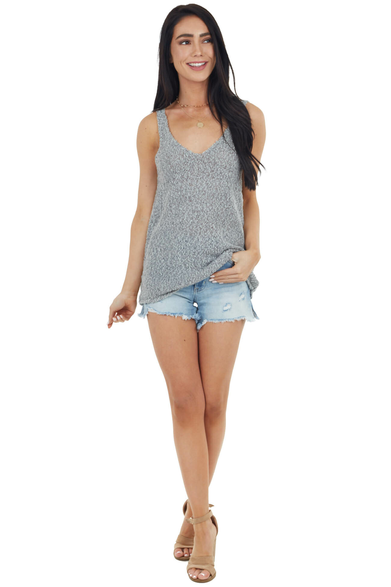 Stone Grey Textured Sweater Knit Tank Top with V Neckline