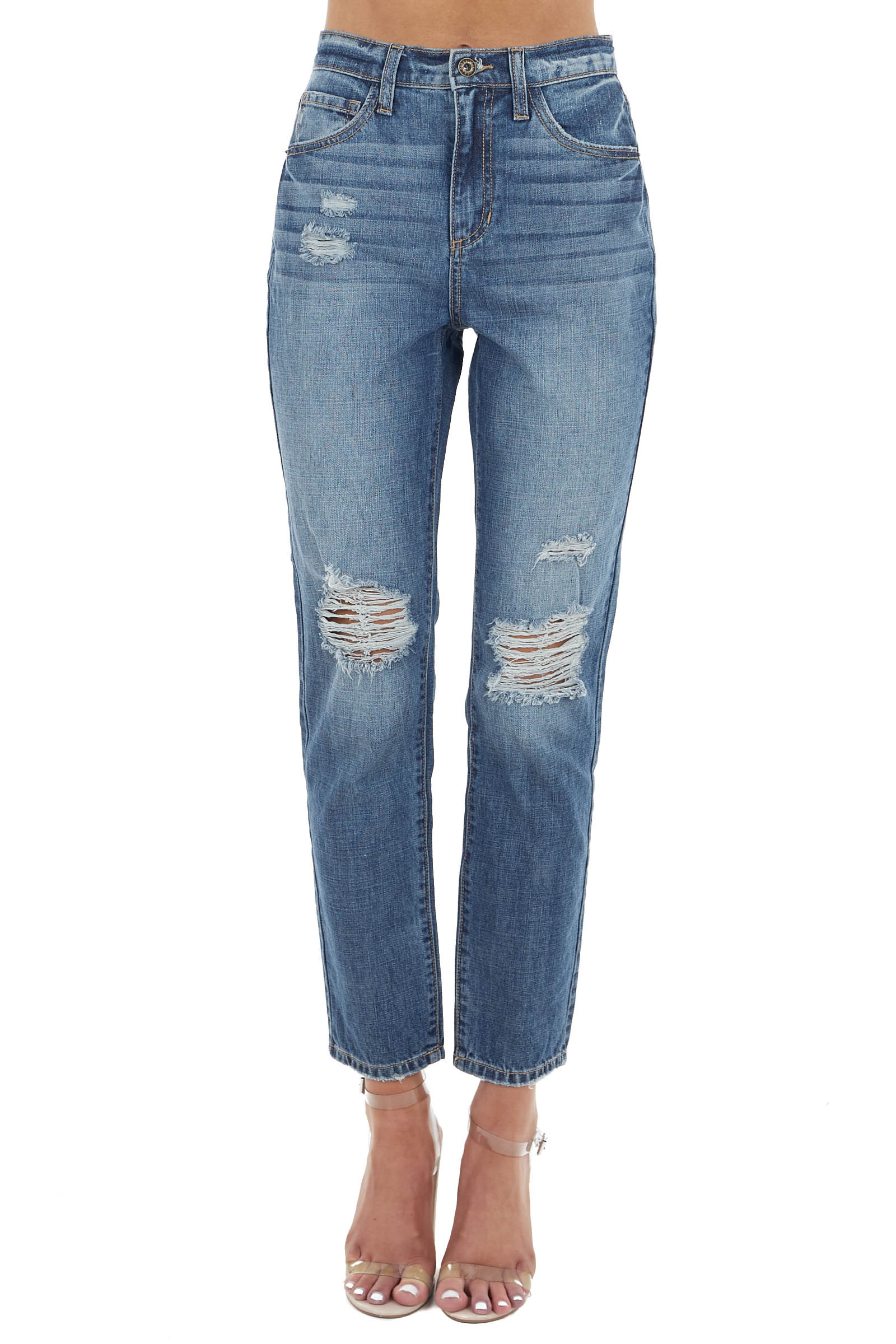 Medium Vintage Wash Distressed High Rise Straight Jeans