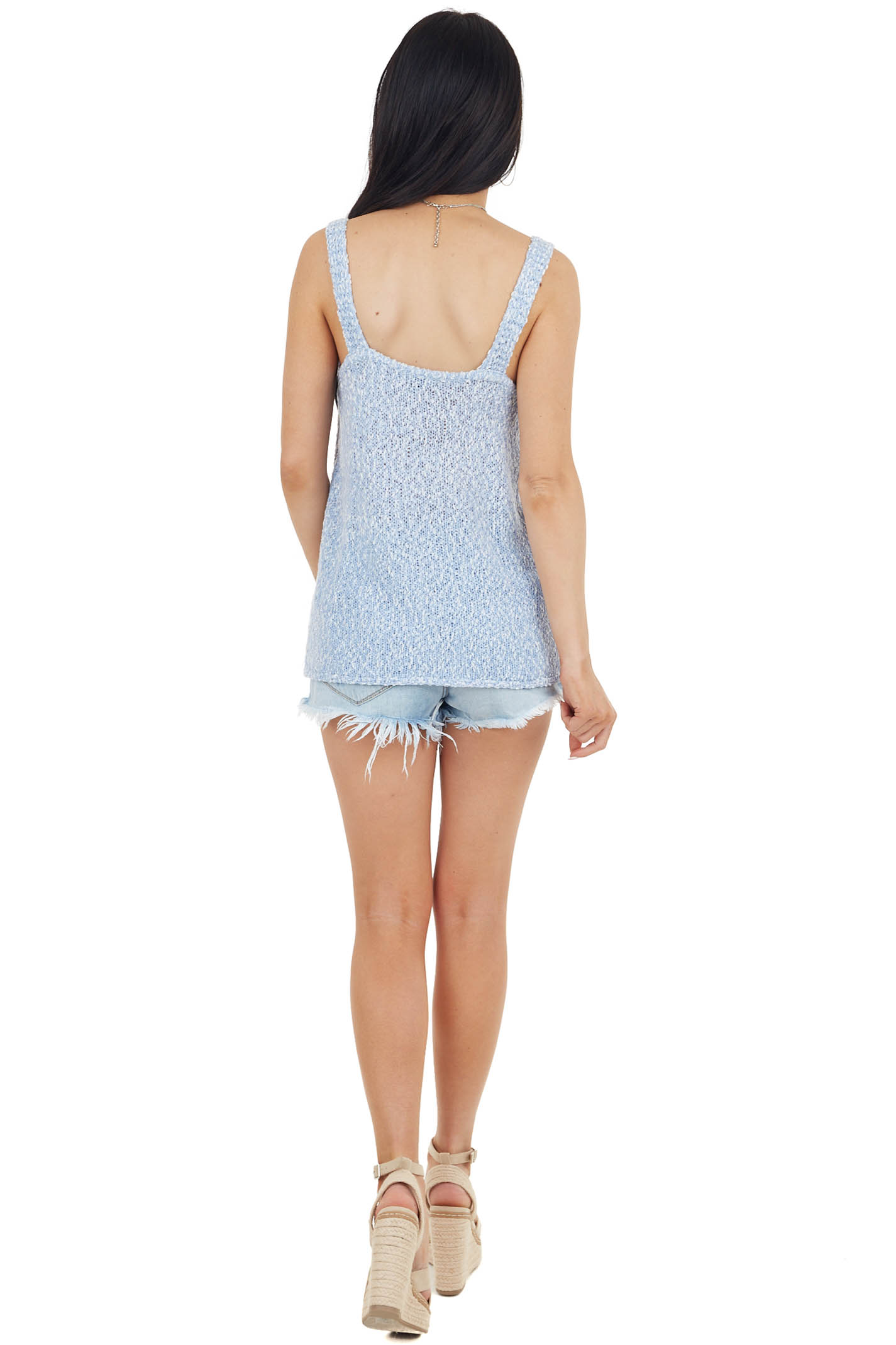Dusty Blue Textured Sweater Knit Tank Top with V Neckline