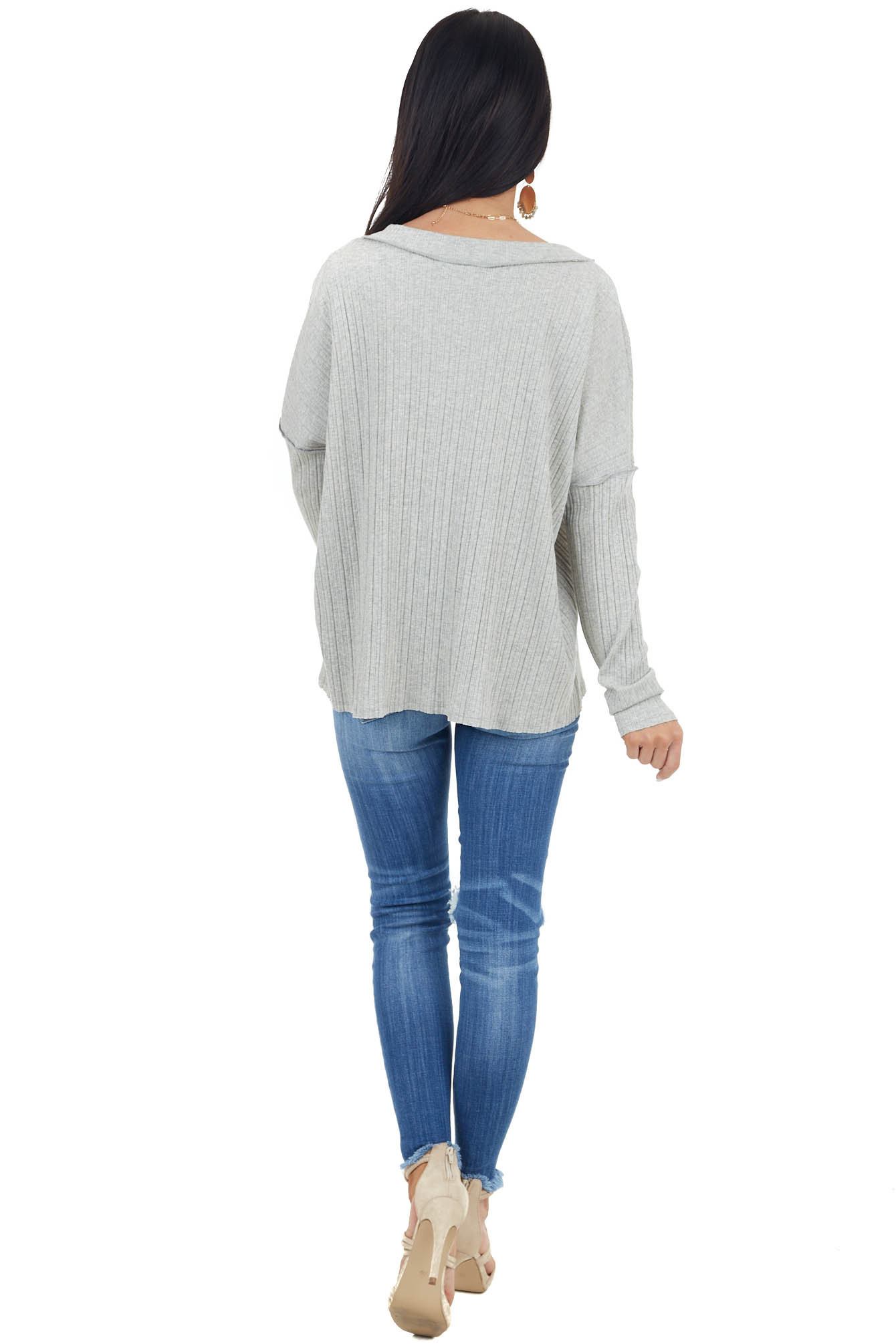 Heather Grey Variegated Ribbed Knit Long Sleeve V Neck Top