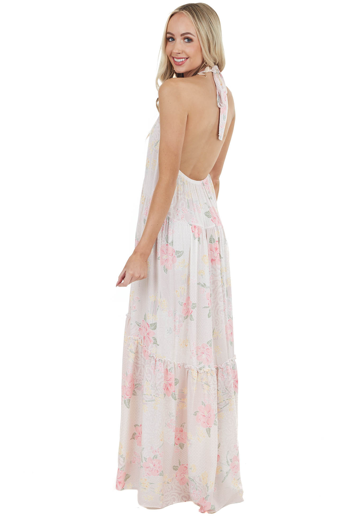 Dusty Rose Floral Open Back Maxi Dress with Halter Neckline
