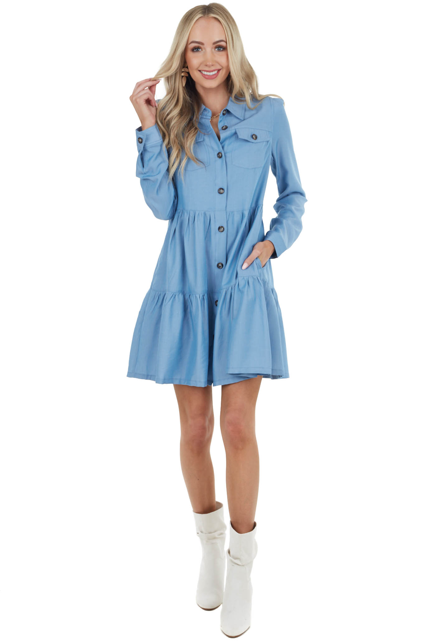 Powder Blue Long Sleeve Buttoned Front Short Dress