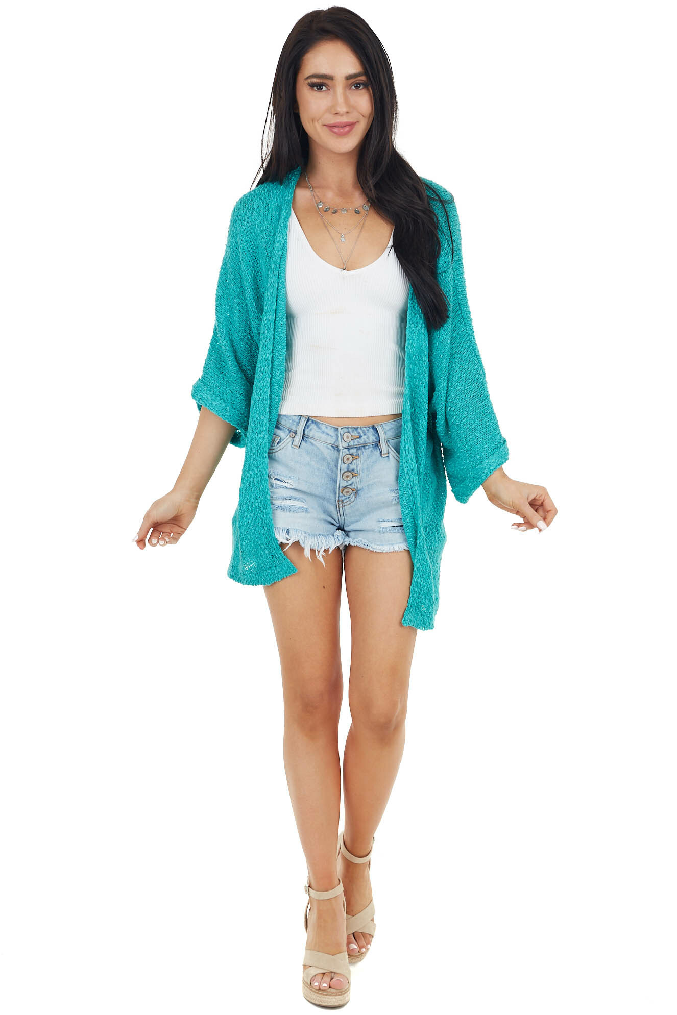 Aqua Textured Knit Cardigan with 3/4 Length Cuffed Sleeves