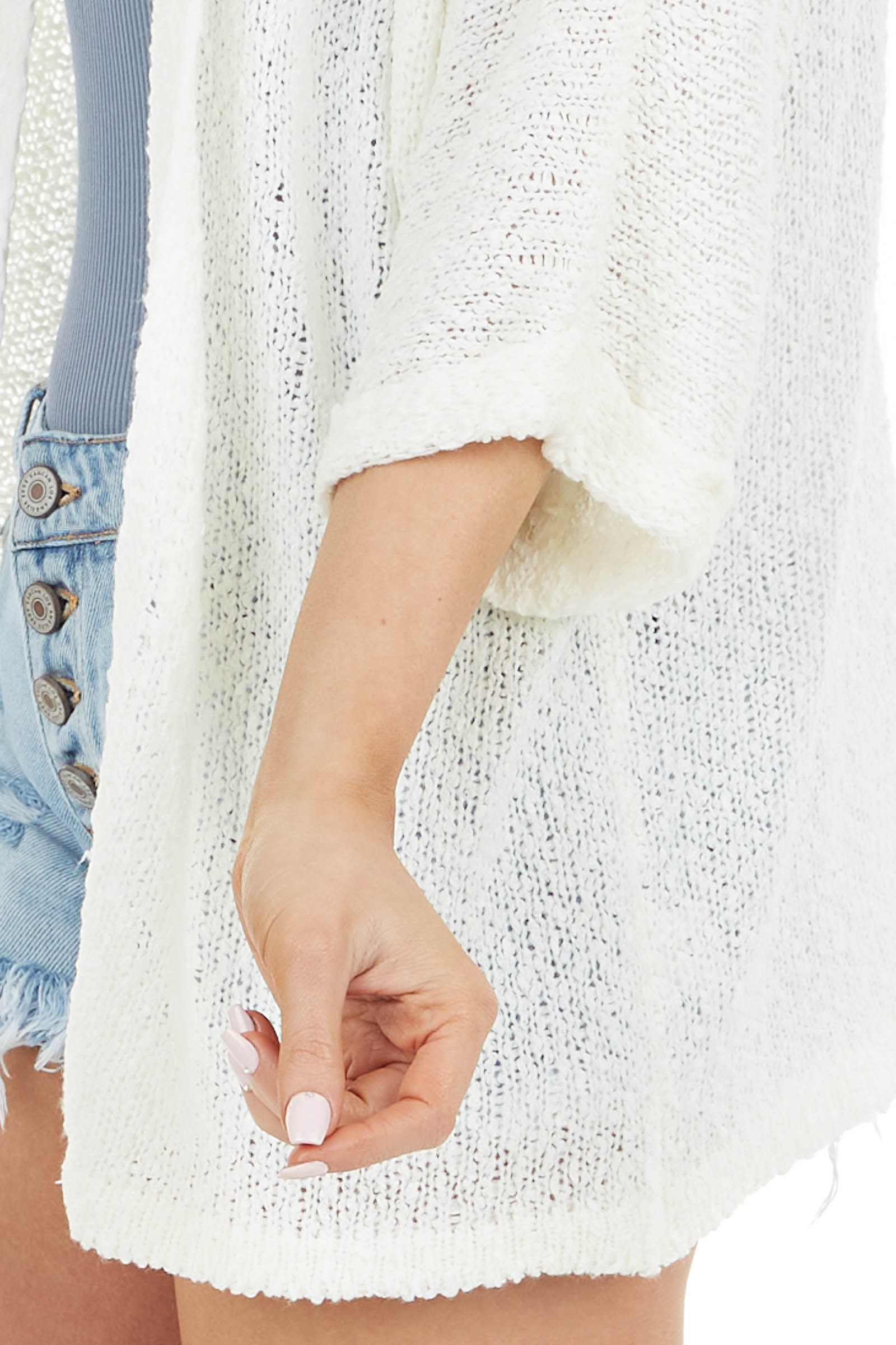 Ivory Textured Knit Cardigan with 3/4 Length Cuffed Sleeves