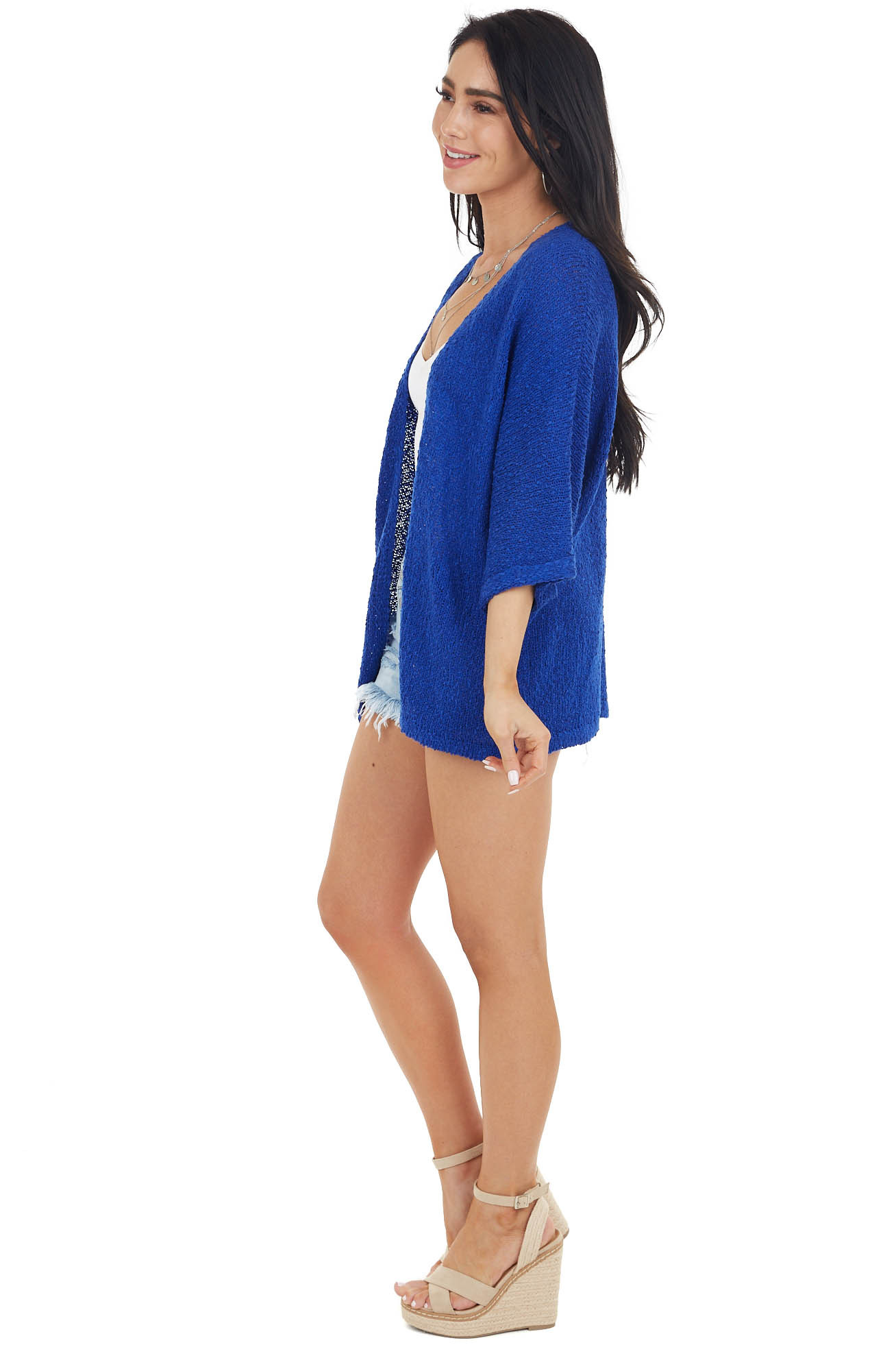 Royal Blue Textured Cardigan with 3/4 Length Cuffed Sleeves