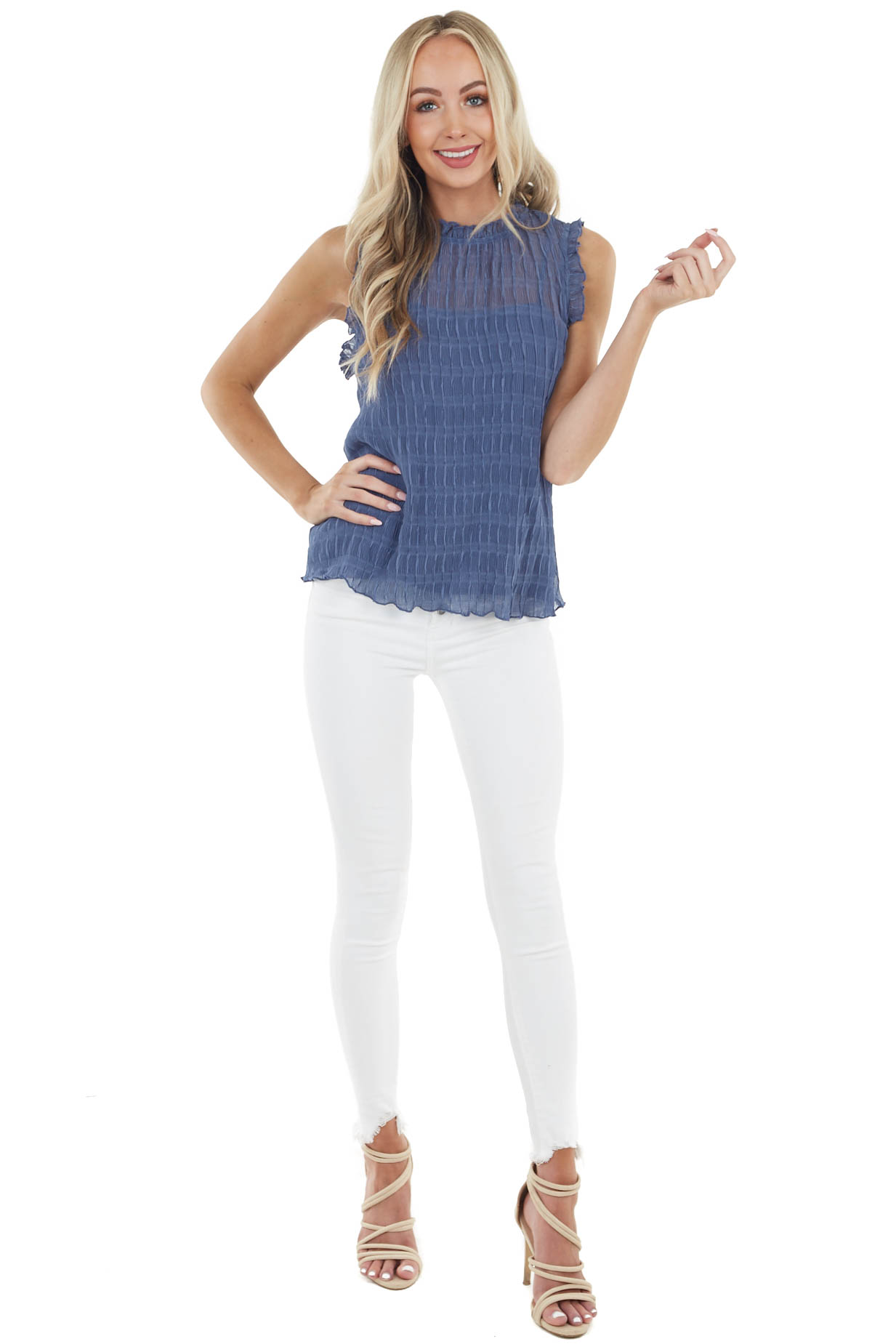 Dusty Blue Accordion Textured Sleeveless Blouse with Frills
