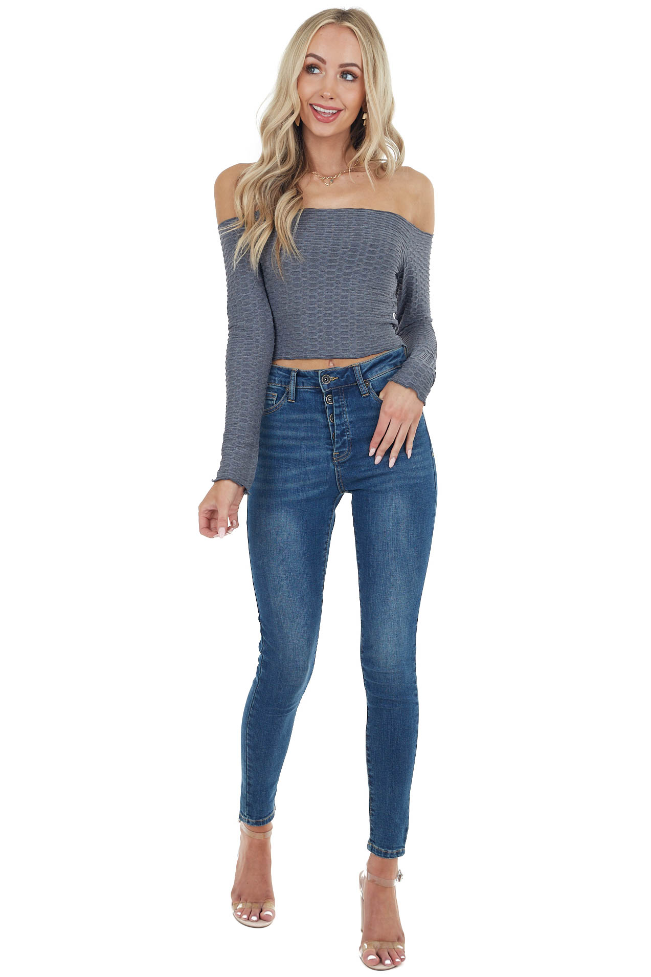 Charcoal Off the Shoulder Embossed Textured Knit Crop Top