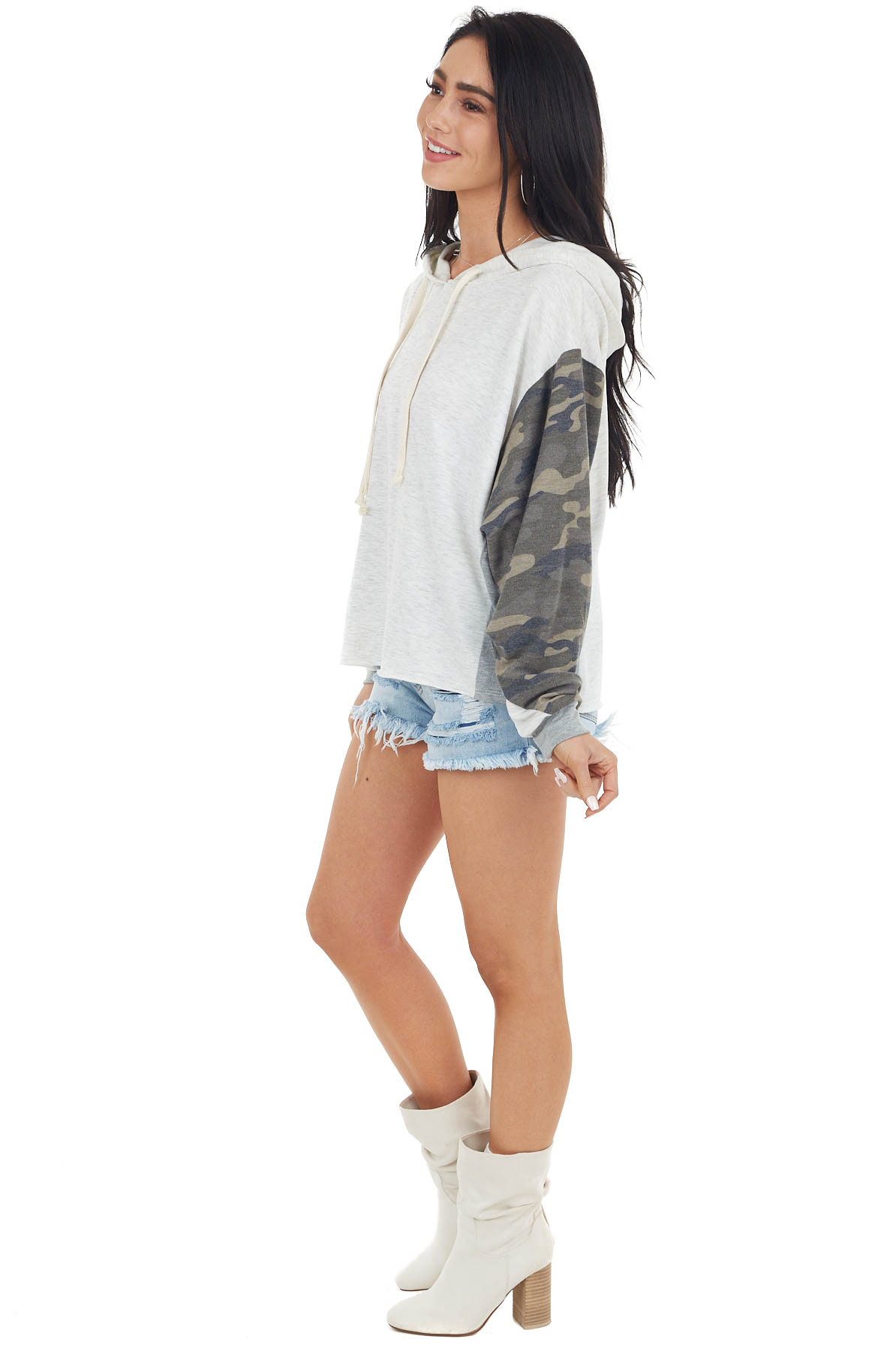 Heathered Ivory Knit Hoodie with Camo Contrast Sleeves