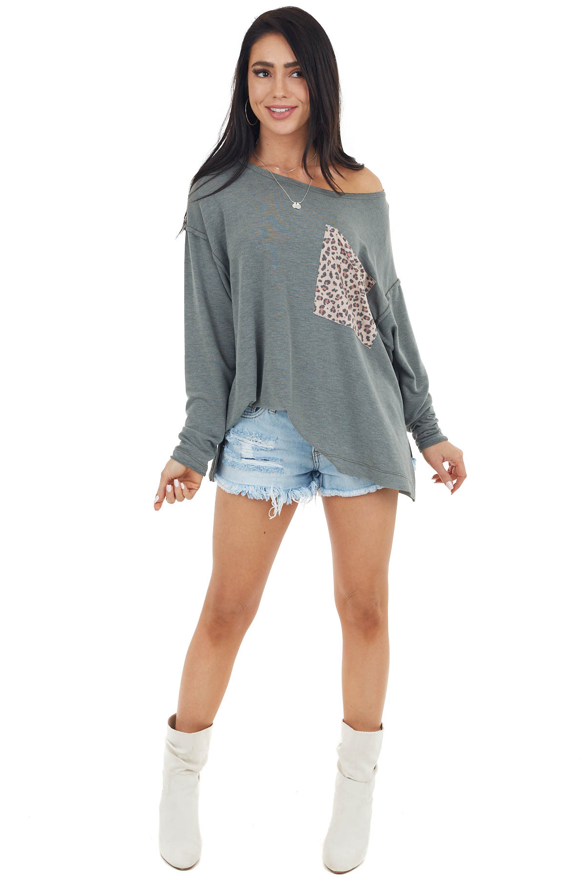 Olive Oversized Knit Top with Large Leopard Print Pocket