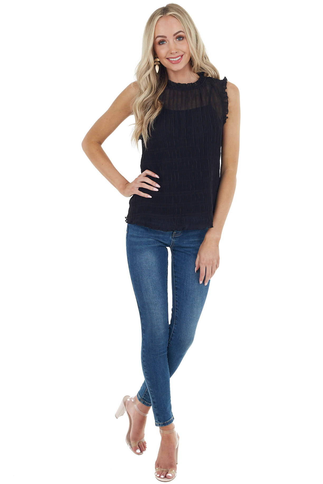 Black Accordion Textured Sleeveless Blouse with Frills