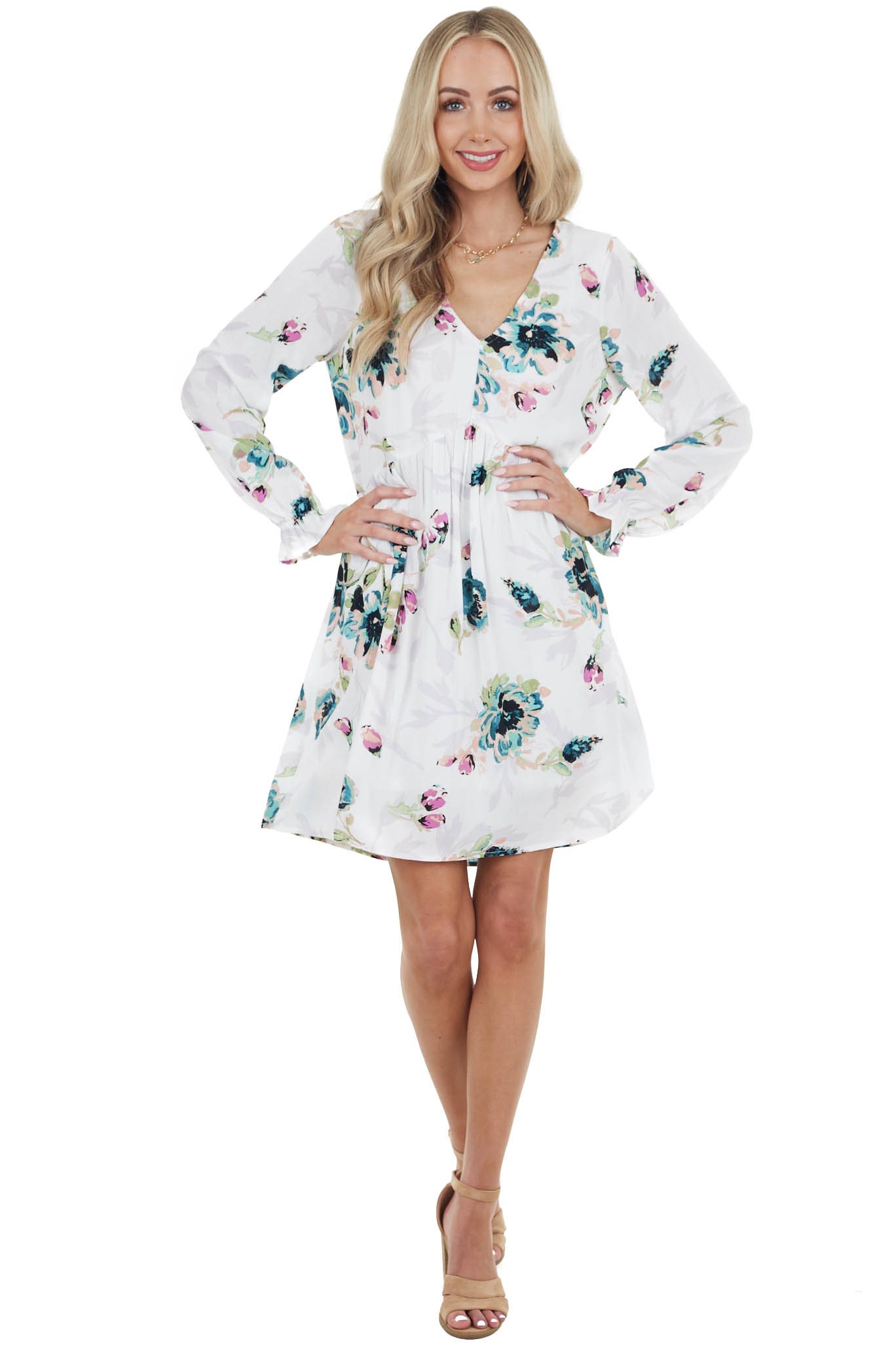 Off White Floral Short Babydoll Dress with Long Sleeves
