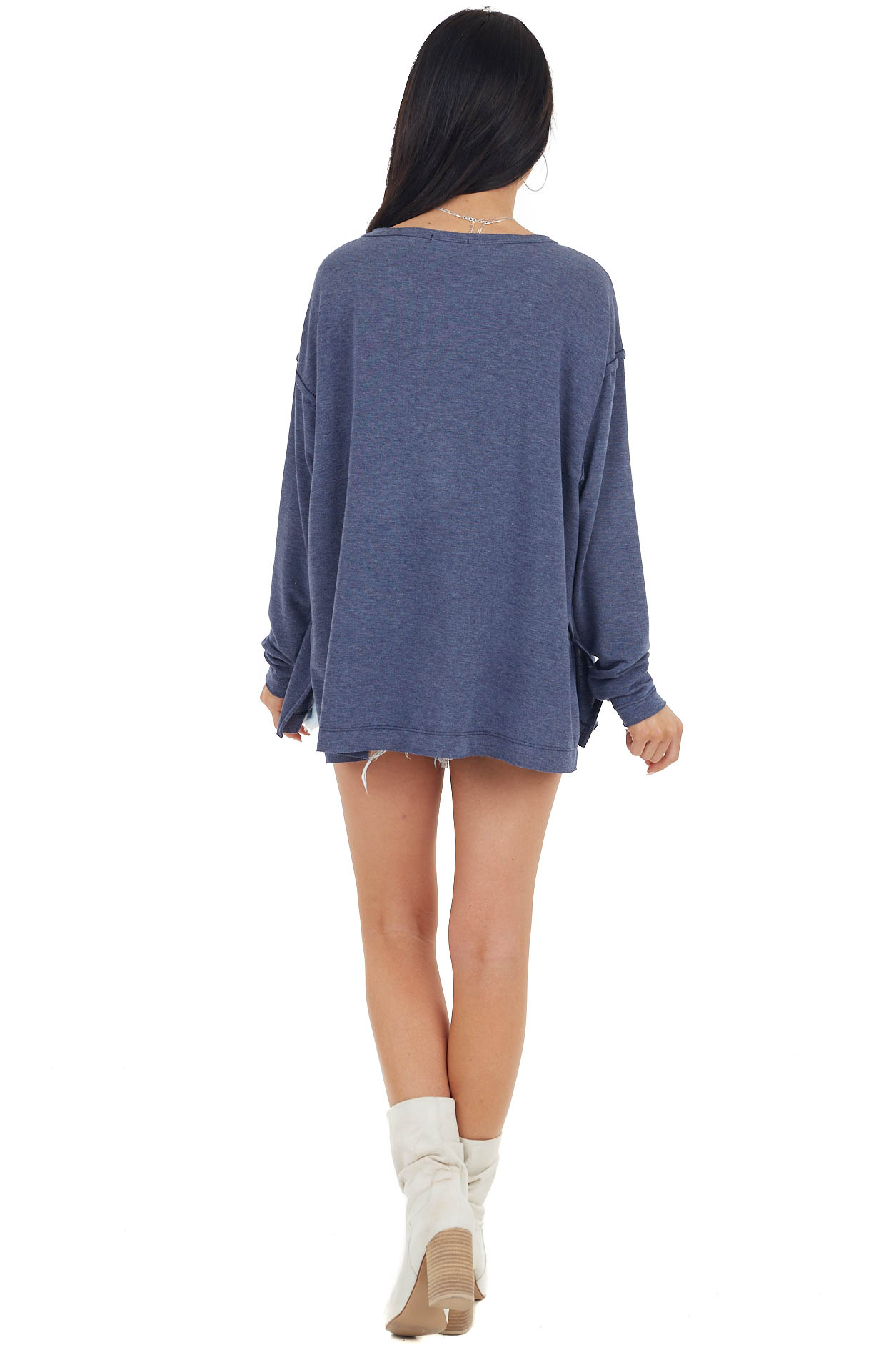Navy Oversized Knit Top with Large Leopard Print Pocket