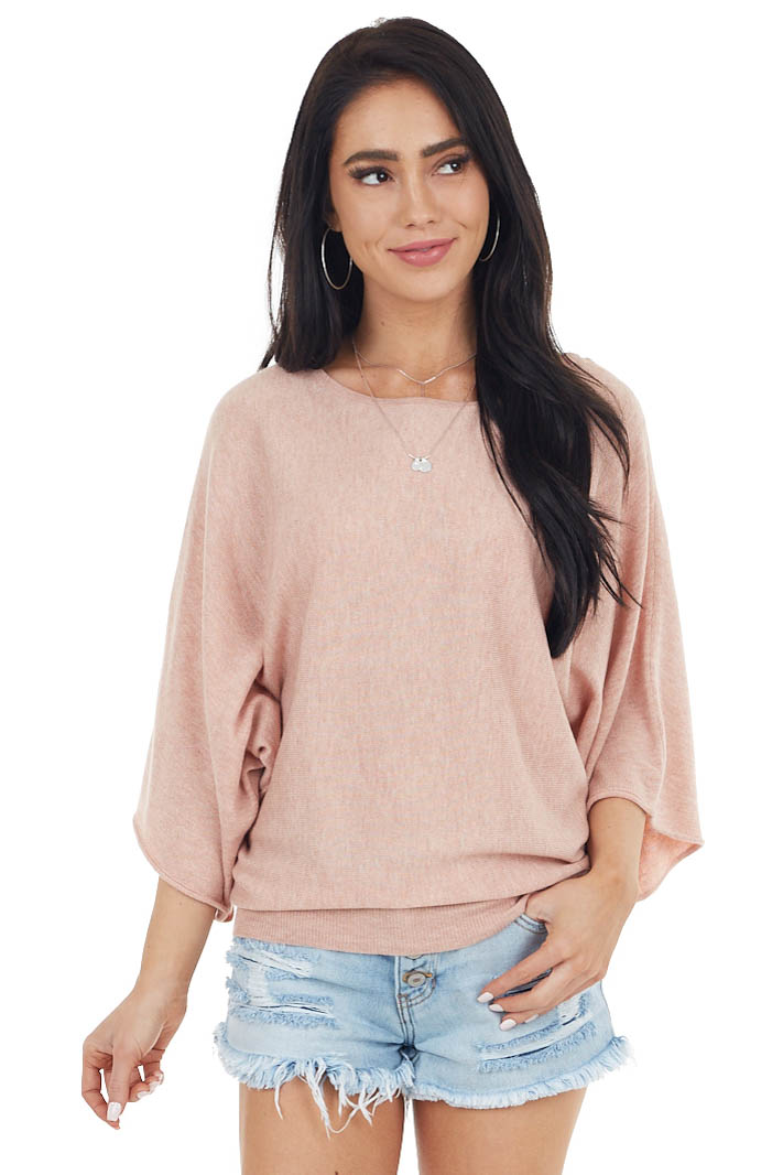 Dusty Rose 3/4 Dolman Sleeve Knit Top with Boat Neckline