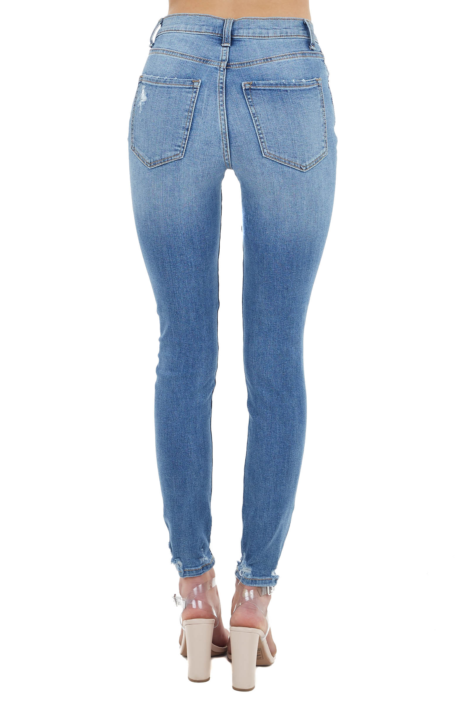 Medium Vintage Wash High Rise Jeans with Light Distressing