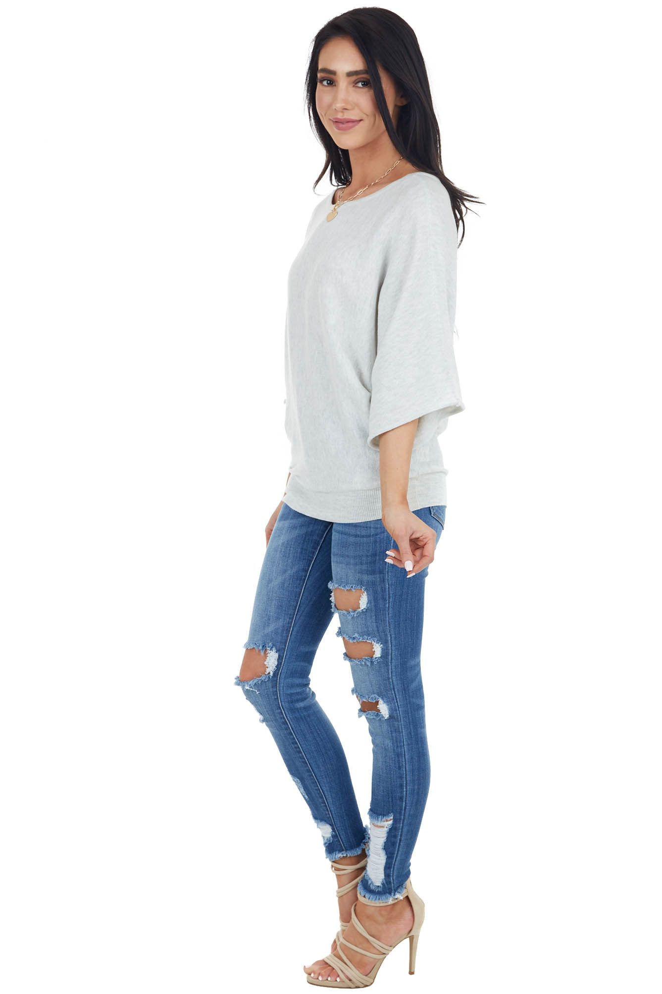 Dove Grey 3/4 Dolman Sleeve Knit Top with Boat Neckline