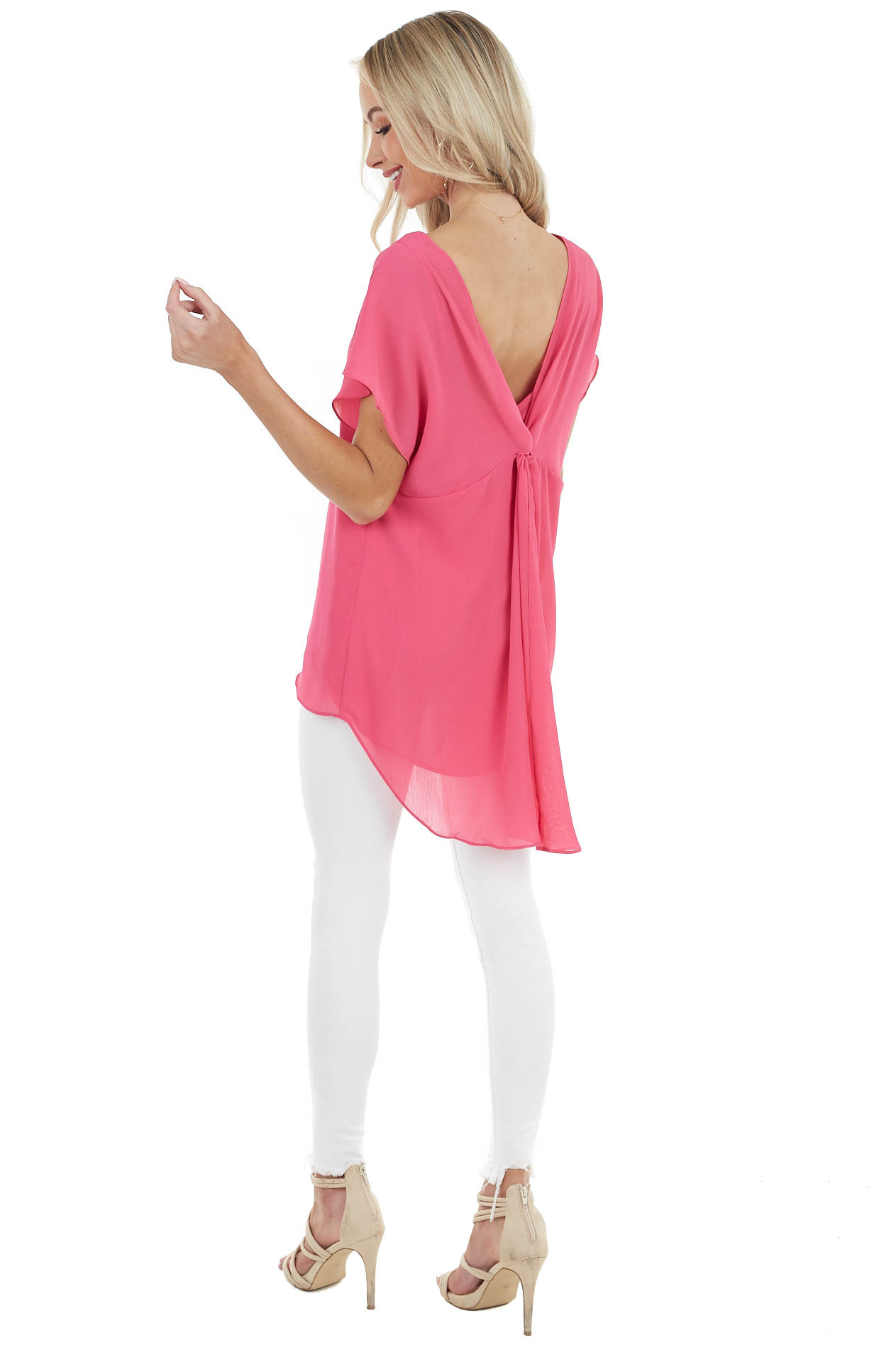 Fuchsia Short Sleeve Textured Blouse with Back Knot Detail