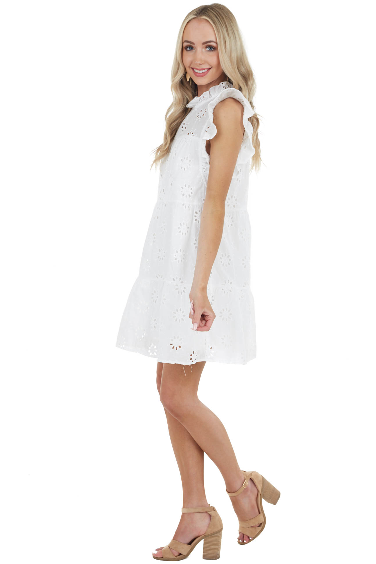 Off White Eyelet Lace Short Dress with Short Ruffle Sleeve