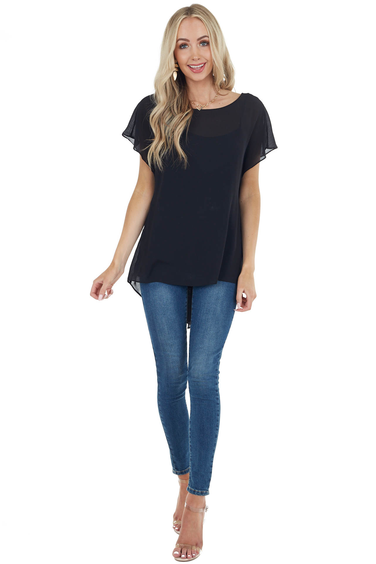 Black Short Sleeve Textured Blouse with Back Knot Detail