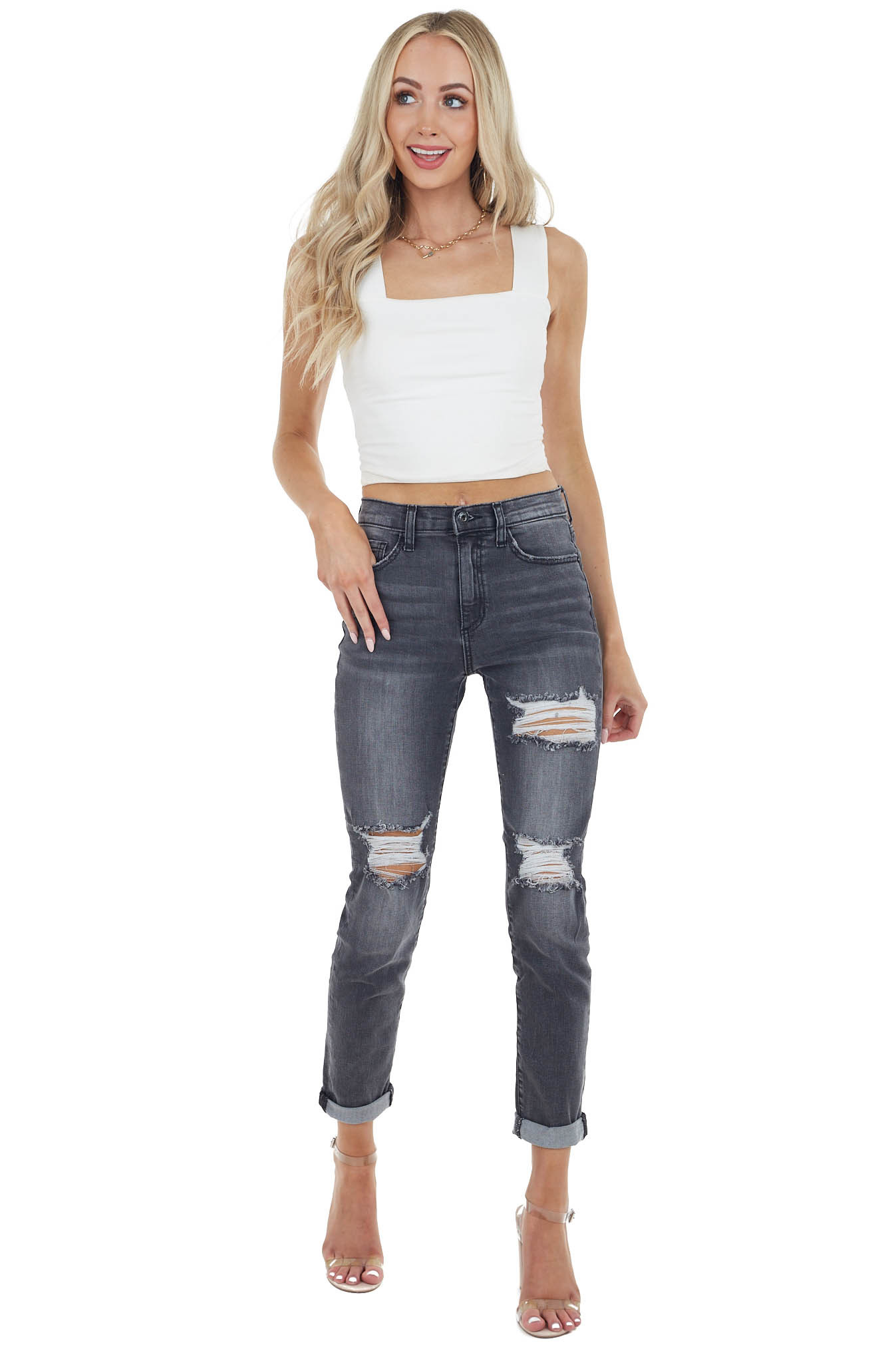 Vintage Black High Rise Relaxed Fit Jeans with Distressing