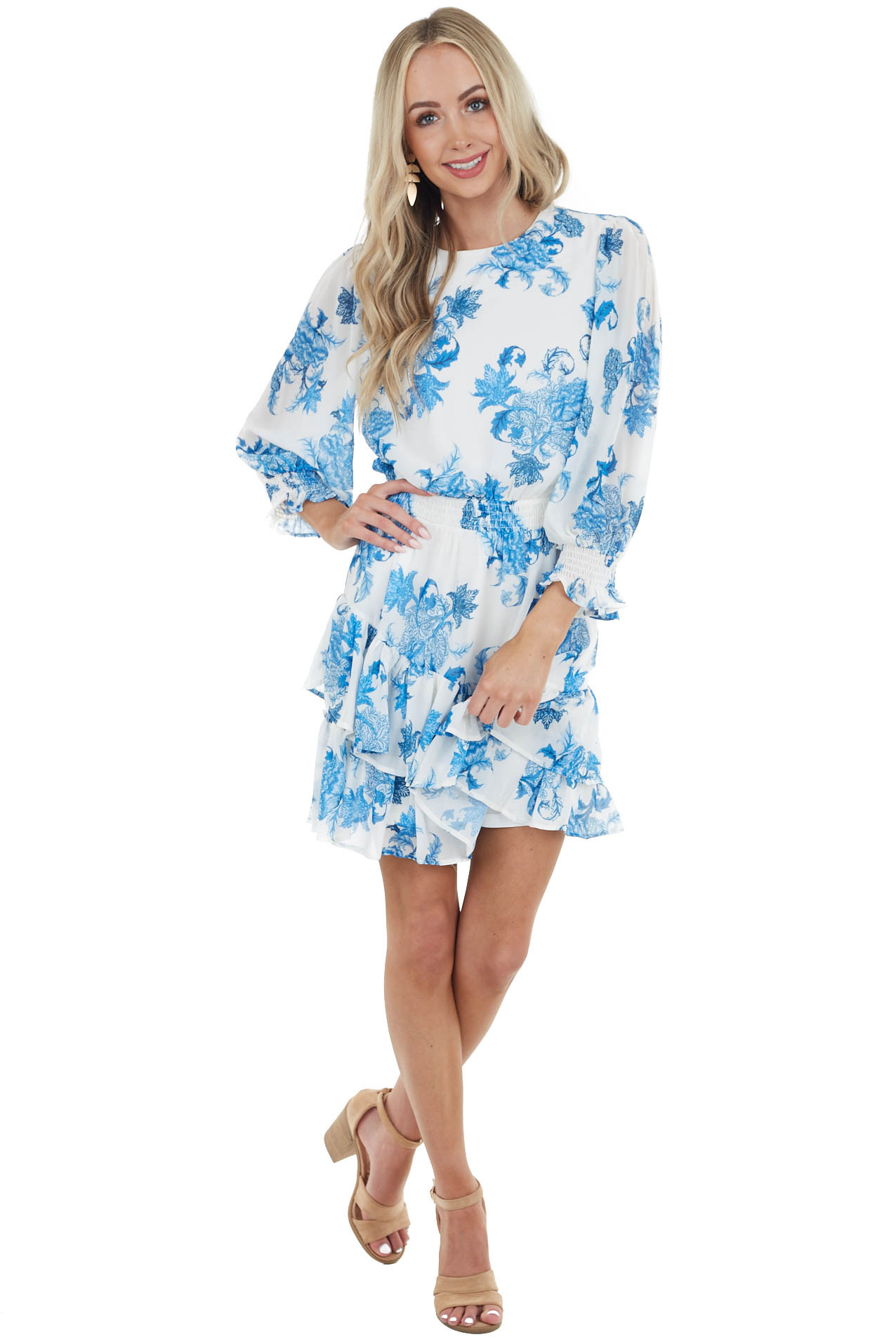 Ocean and Ivory Floral Mini Dress with Long Bubble Sleeves
