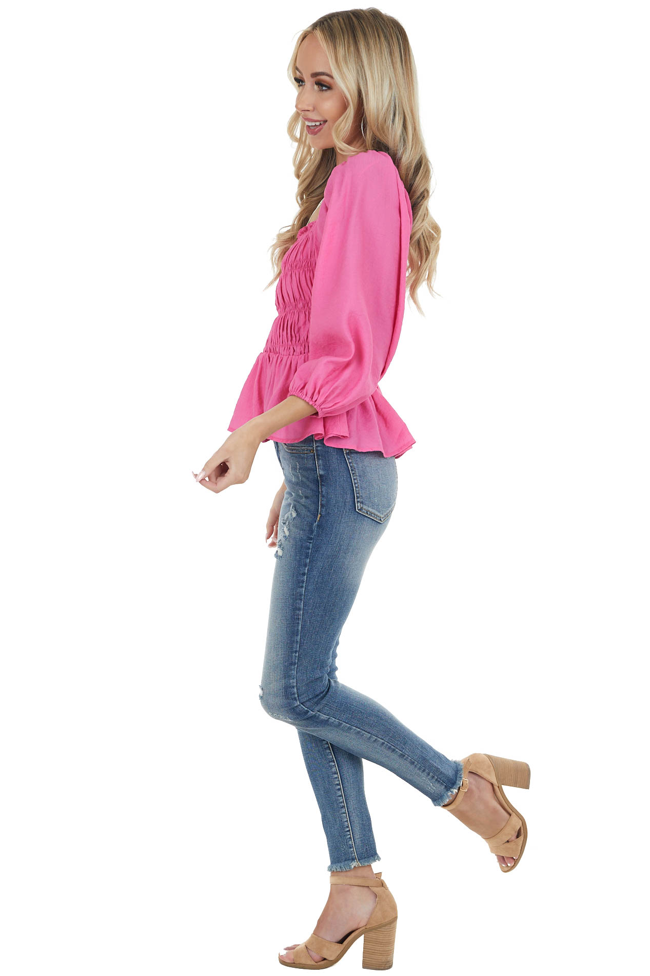 Hot Pink Smocked Top with 3/4 Length Bubble Sleeves