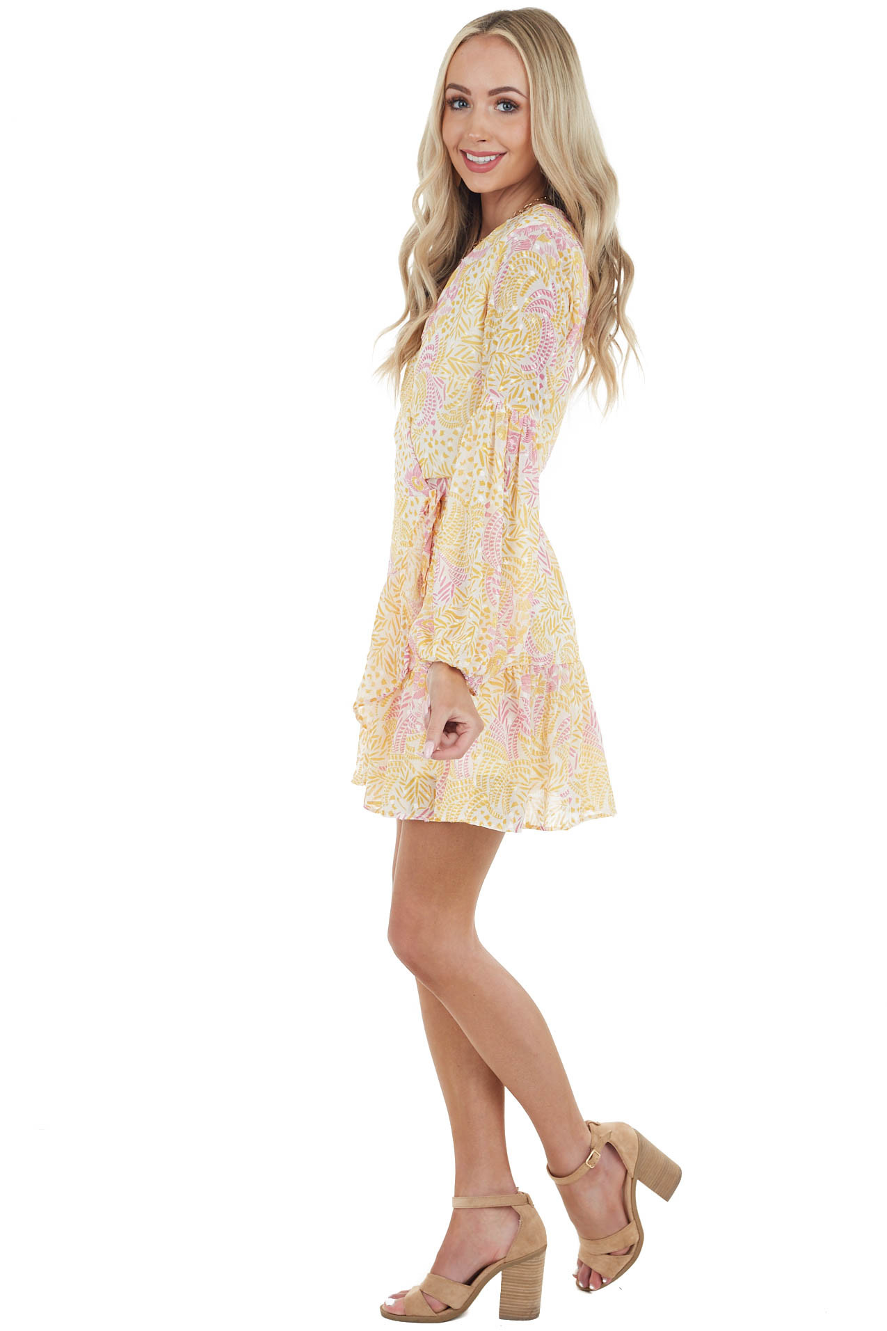 Banana Abstract Floral Print Swiss Dot Surplice Short Dress