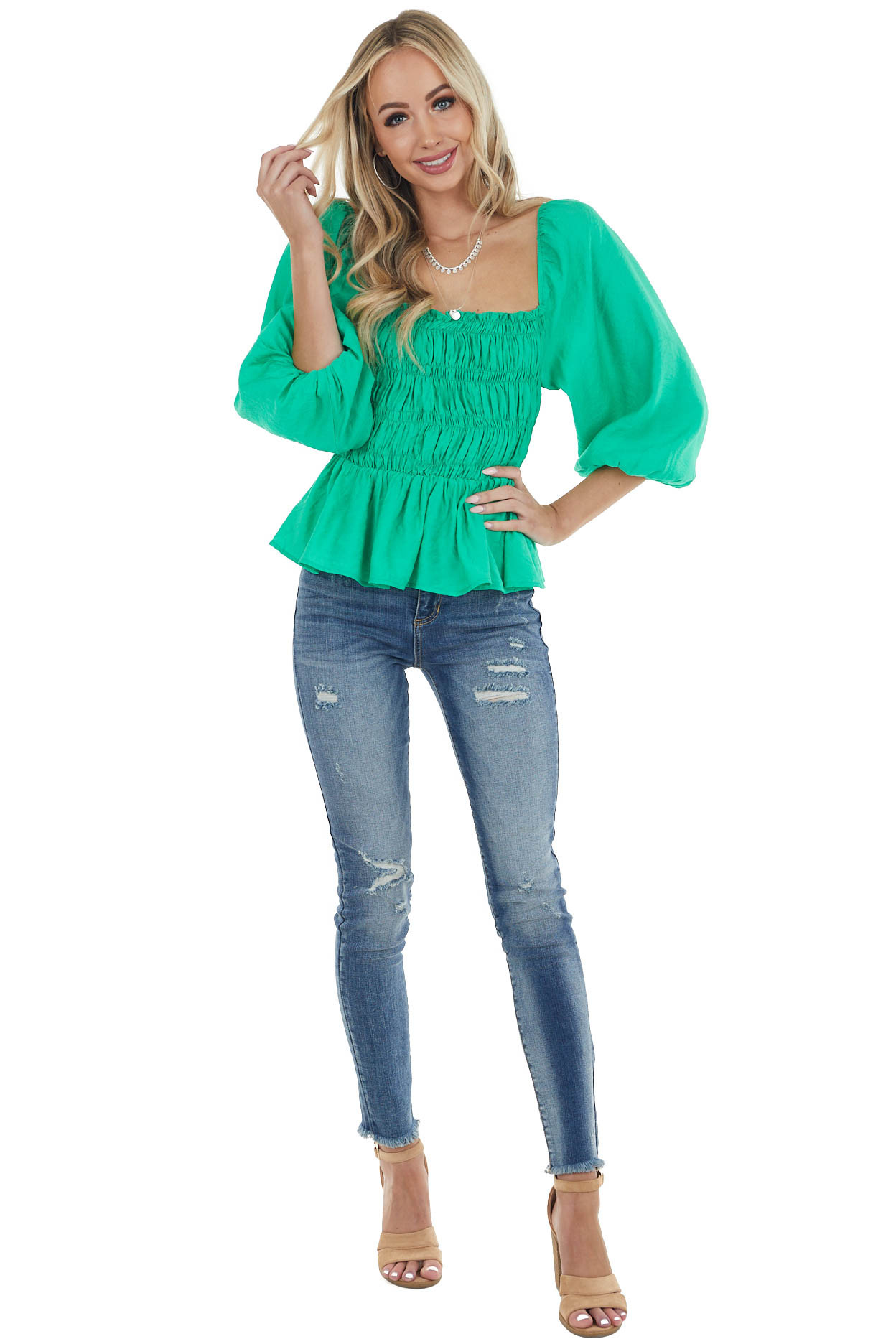 Kelly Green Smocked Top with 3/4 Length Bubble Sleeves