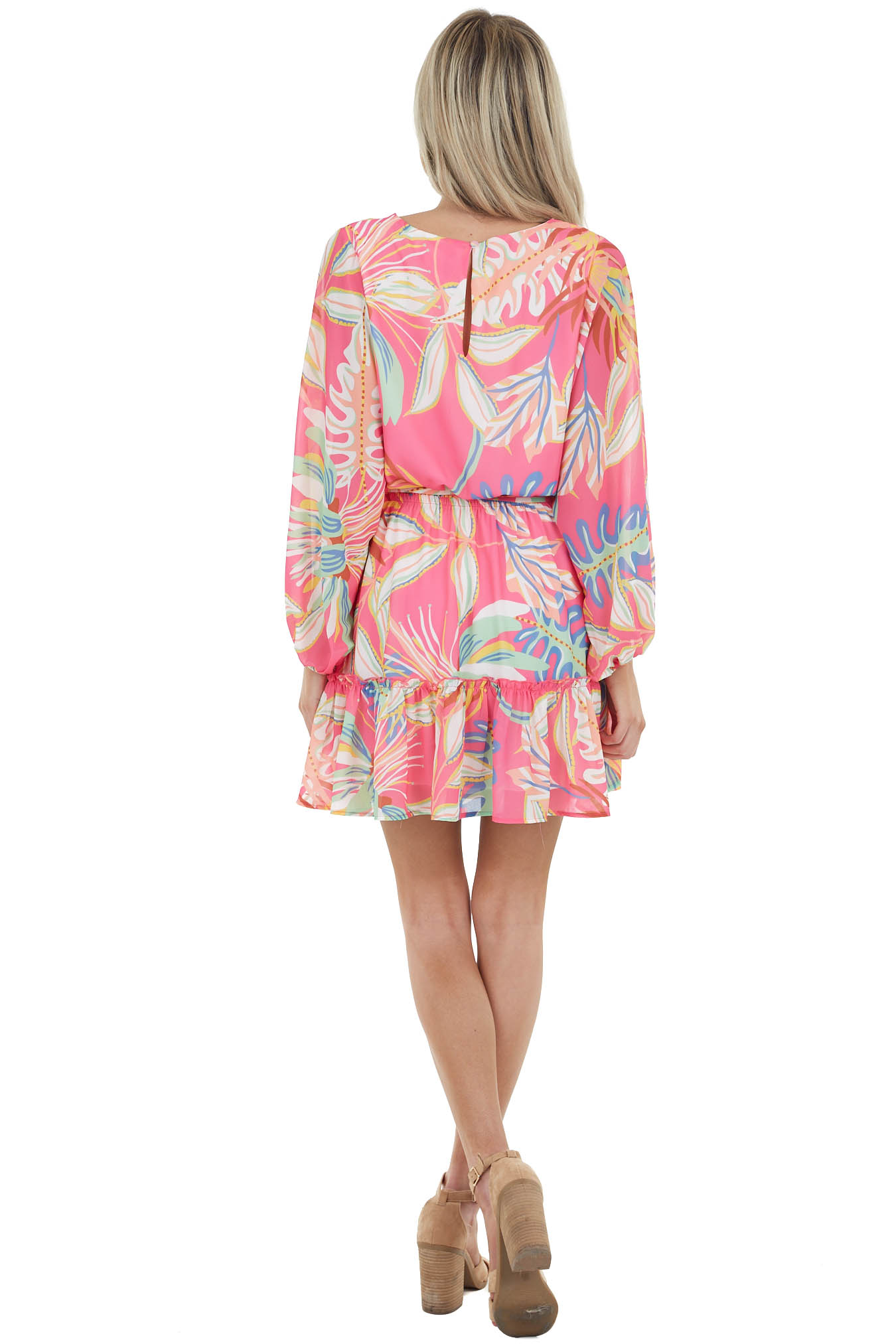 Hot Pink Abstract Print Woven Mini Dress with Keyhole Back