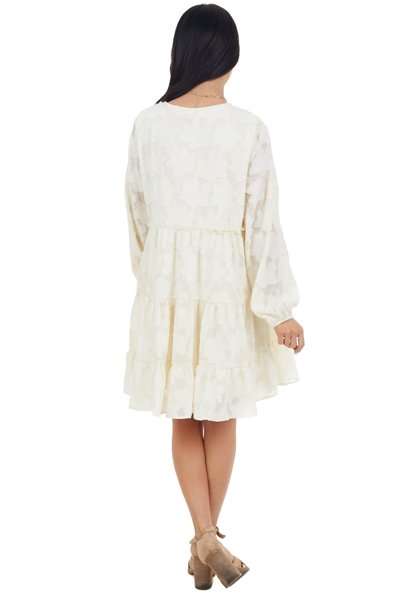 Cream Textured Print Tiered Babydoll Dress with Long Sleeves