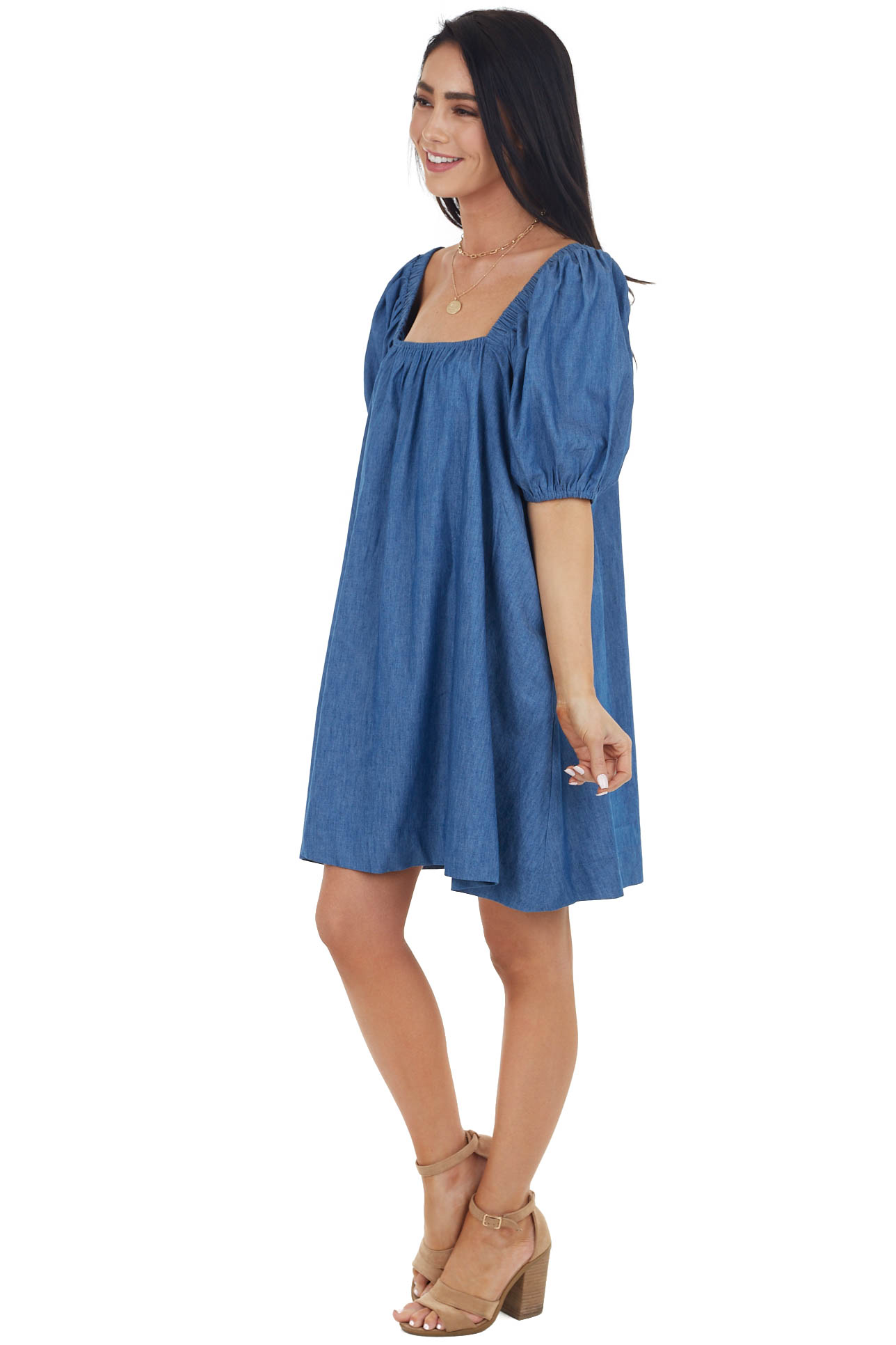 Medium Wash Short Bubble Sleeve Dress with Square Neckline