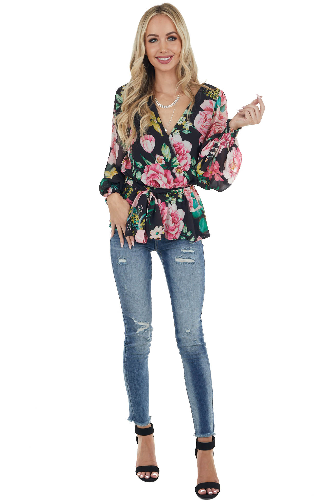 Black Floral Print Surplice V Neck Blouse with Bubble Sleeve