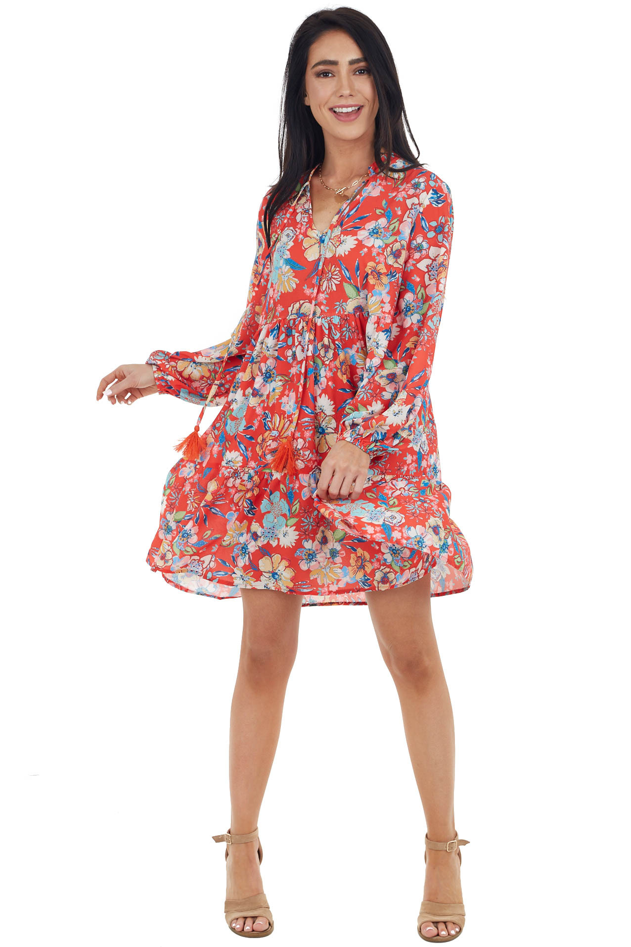 Lipstick Red Floral Print Long Bubble Sleeve Tiered Dress
