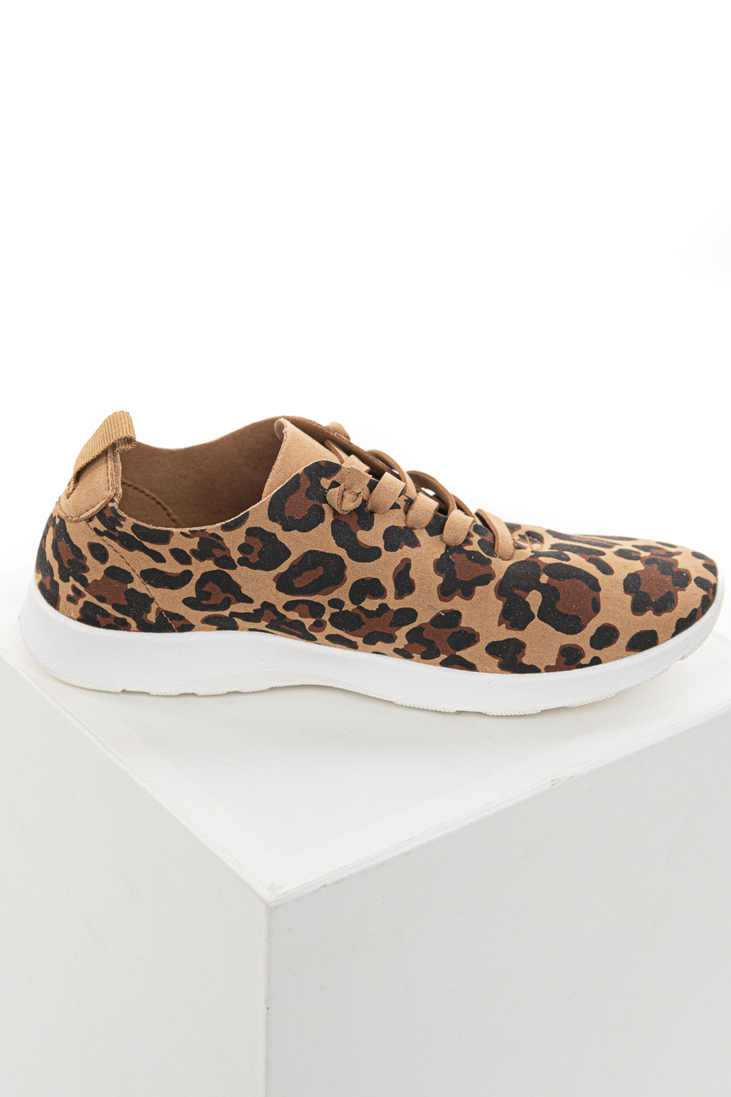 Camel Faux Suede Leopard Print Sneakers with Tied Off Laces