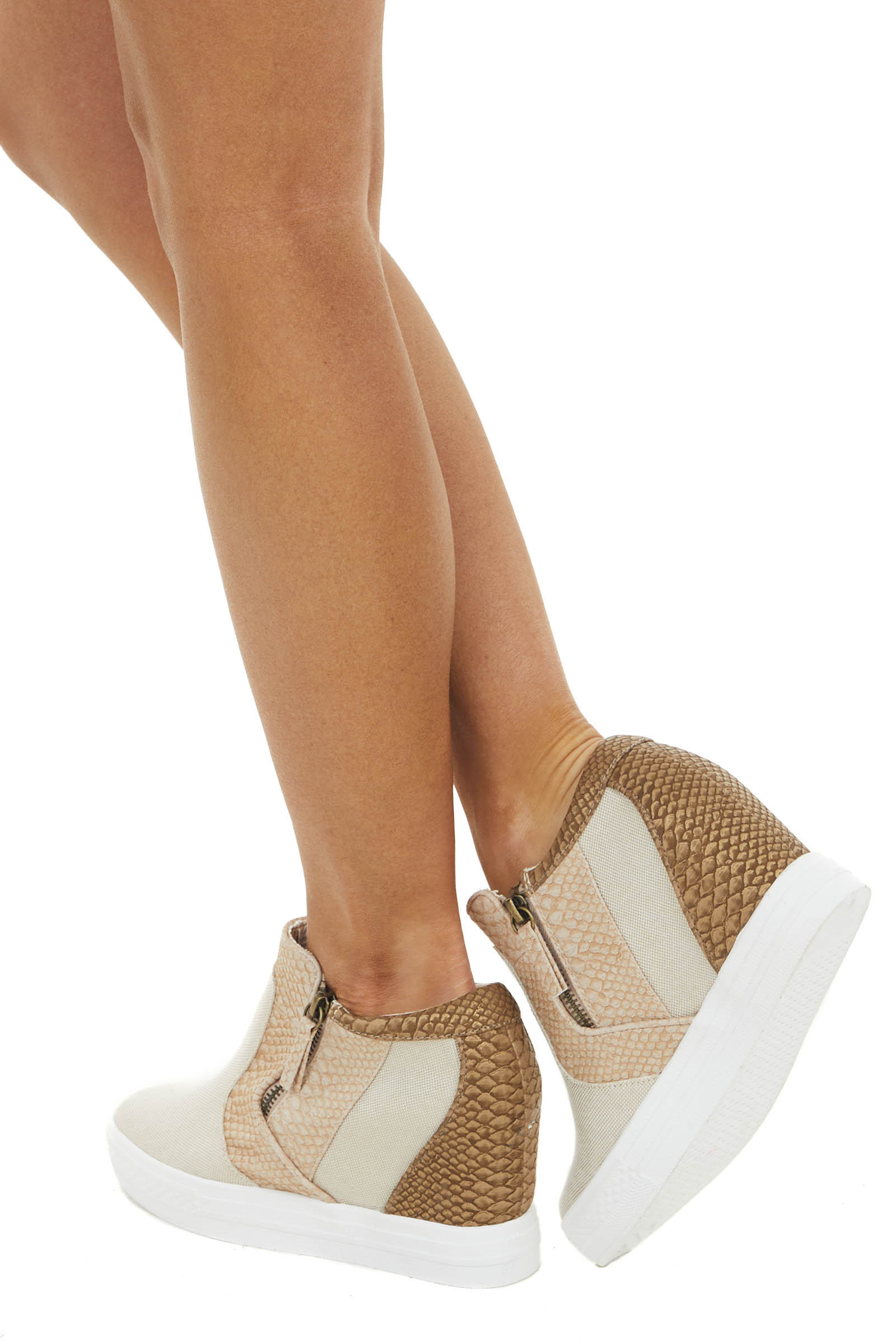 Beige and Snakeskin Print Wedge Sneakers with Dual Zippers