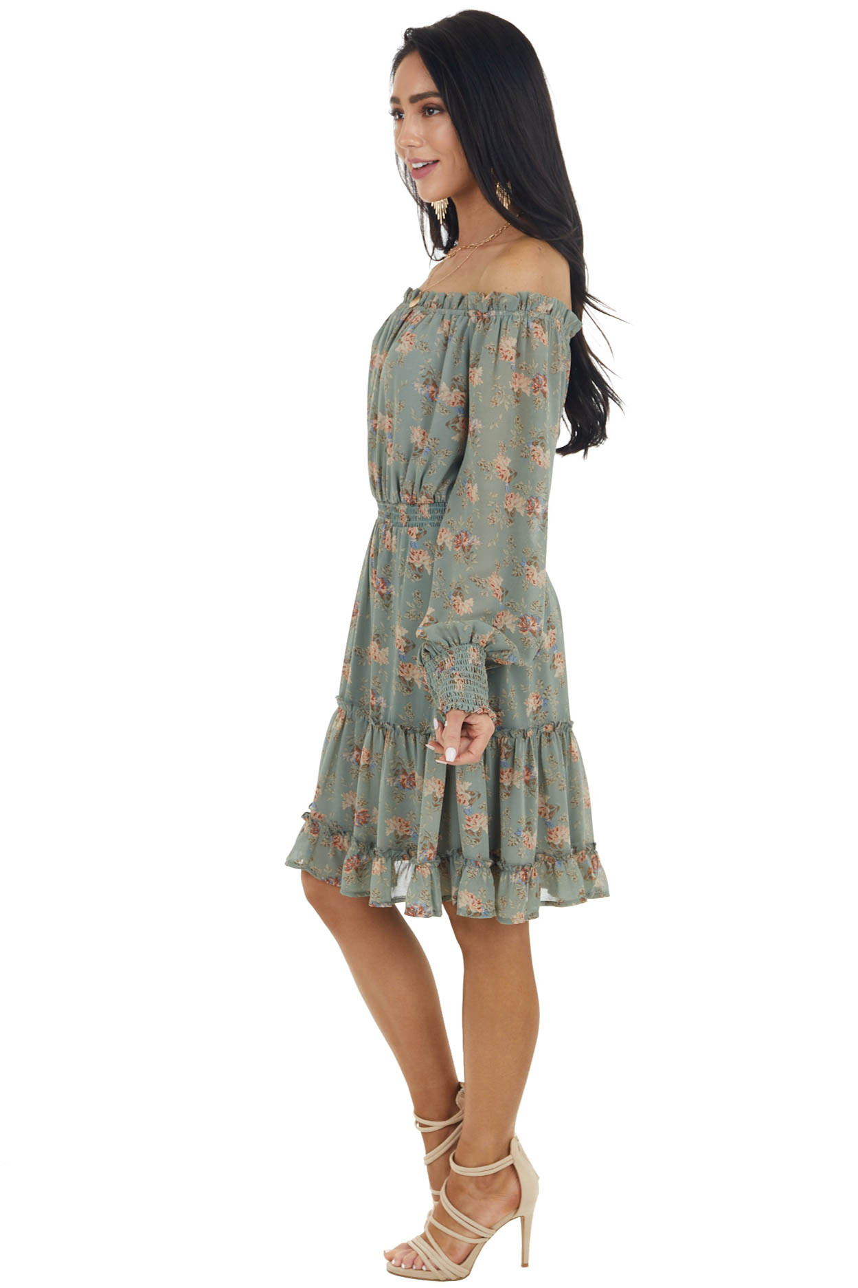 Sage Floral Print Off the Shoulder Short Woven Dress