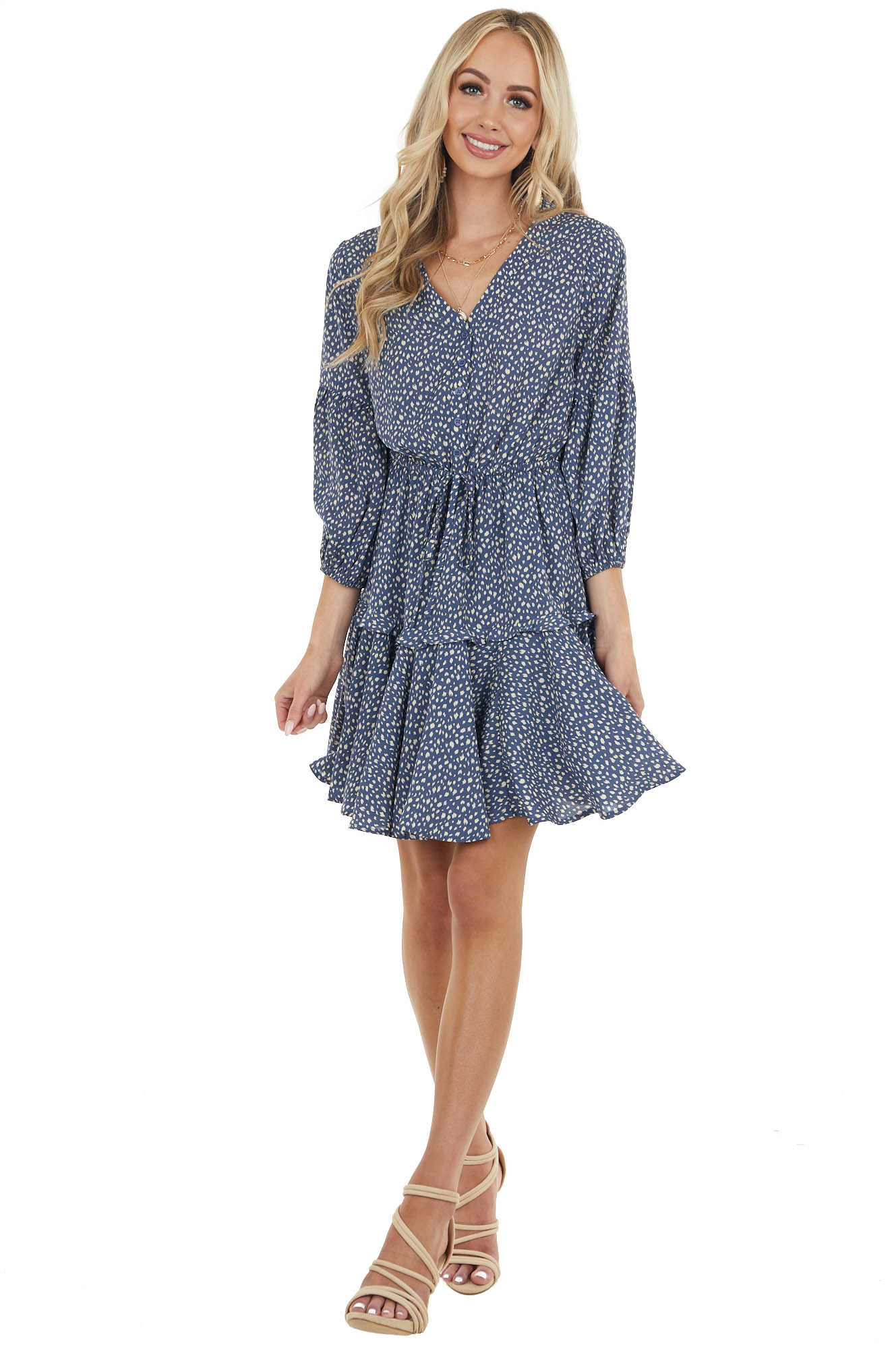 Dusty Blue Printed Button Down Short Dress with 3/4 Sleeves