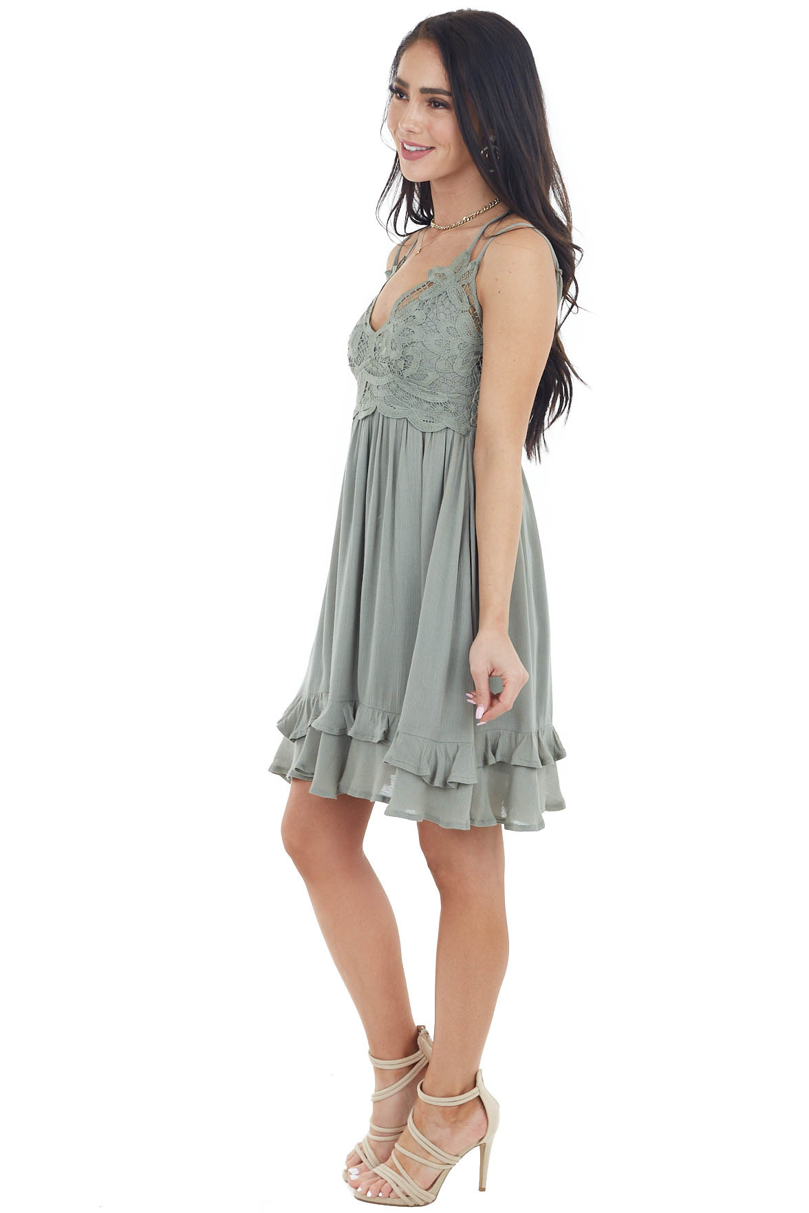 Vintage Sage Crochet Lace Babydoll Dress with Tiered Ruffle