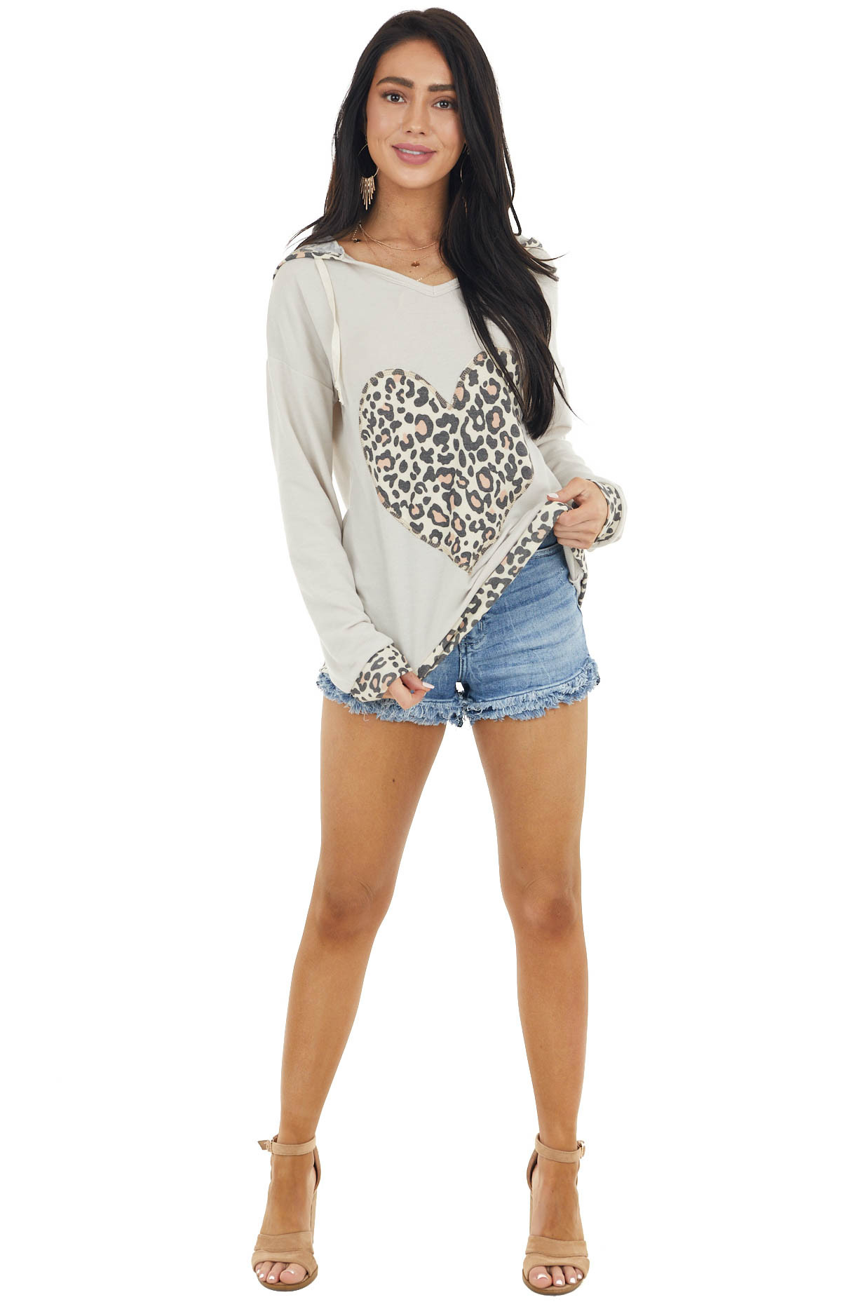 Oatmeal Leopard Print Long Sleeve Hoodie with Heart Detail