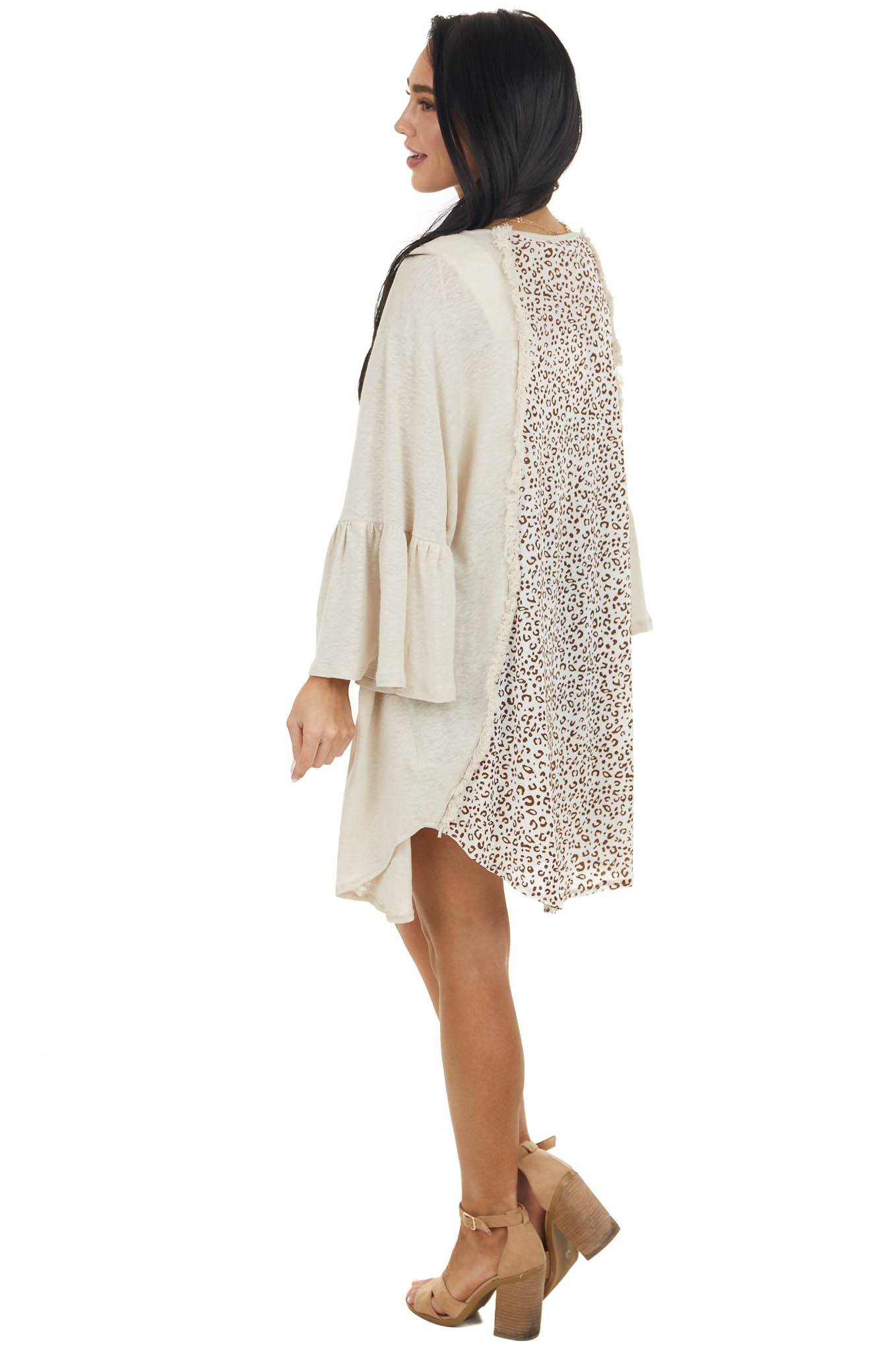 Oatmeal Leopard Print Open Front Cardigan with Frayed Detail