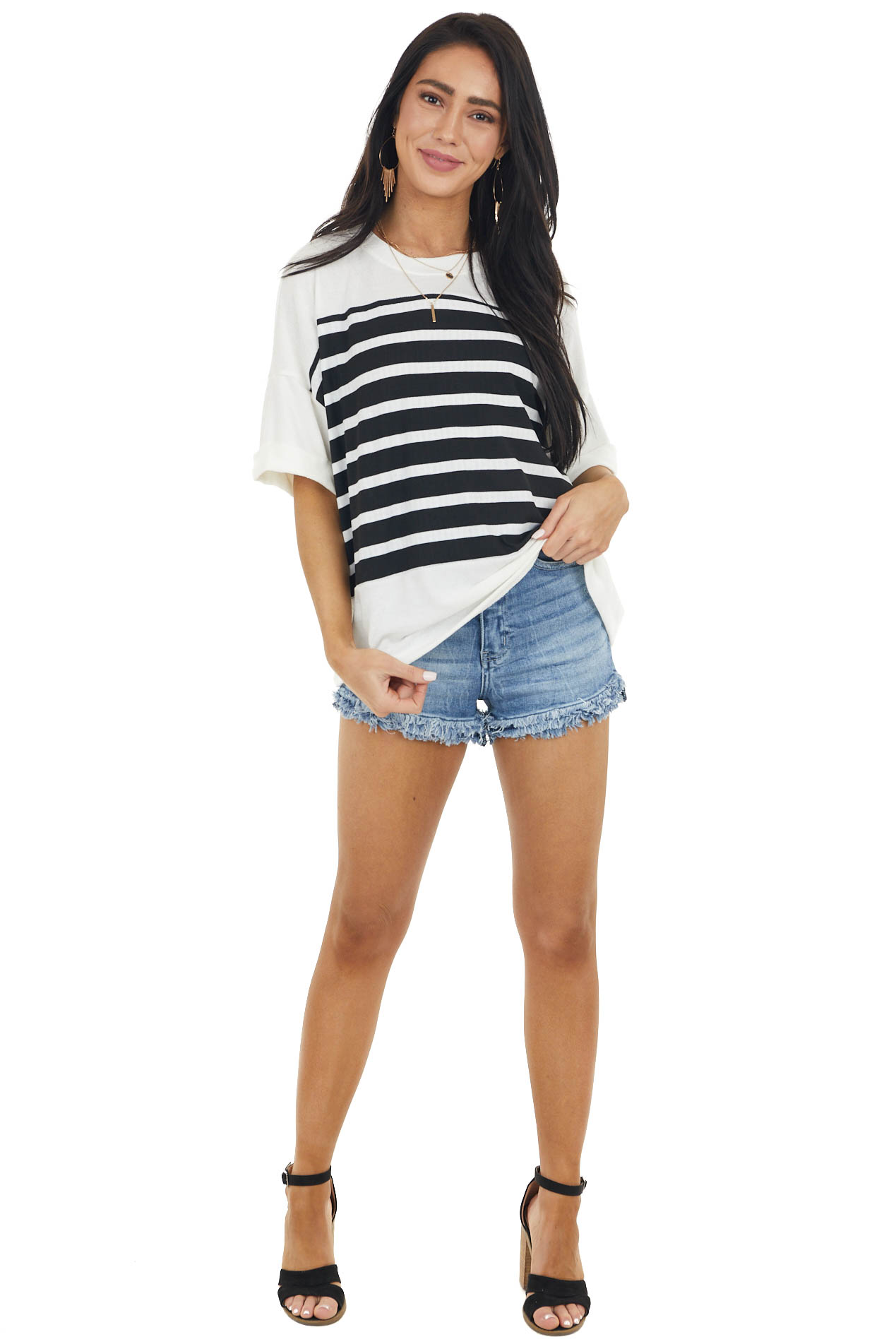 Ivory Striped Colorblock Short Folded Cuff Sleeve Knit Top