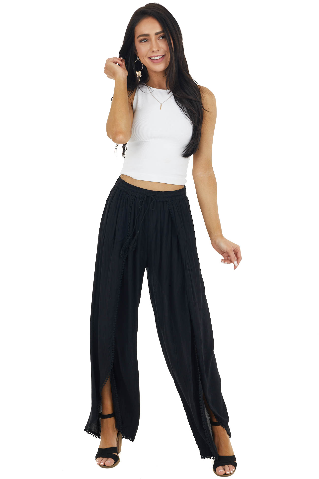Black Open Leg Wrap Pants with Tassel and Lace Details