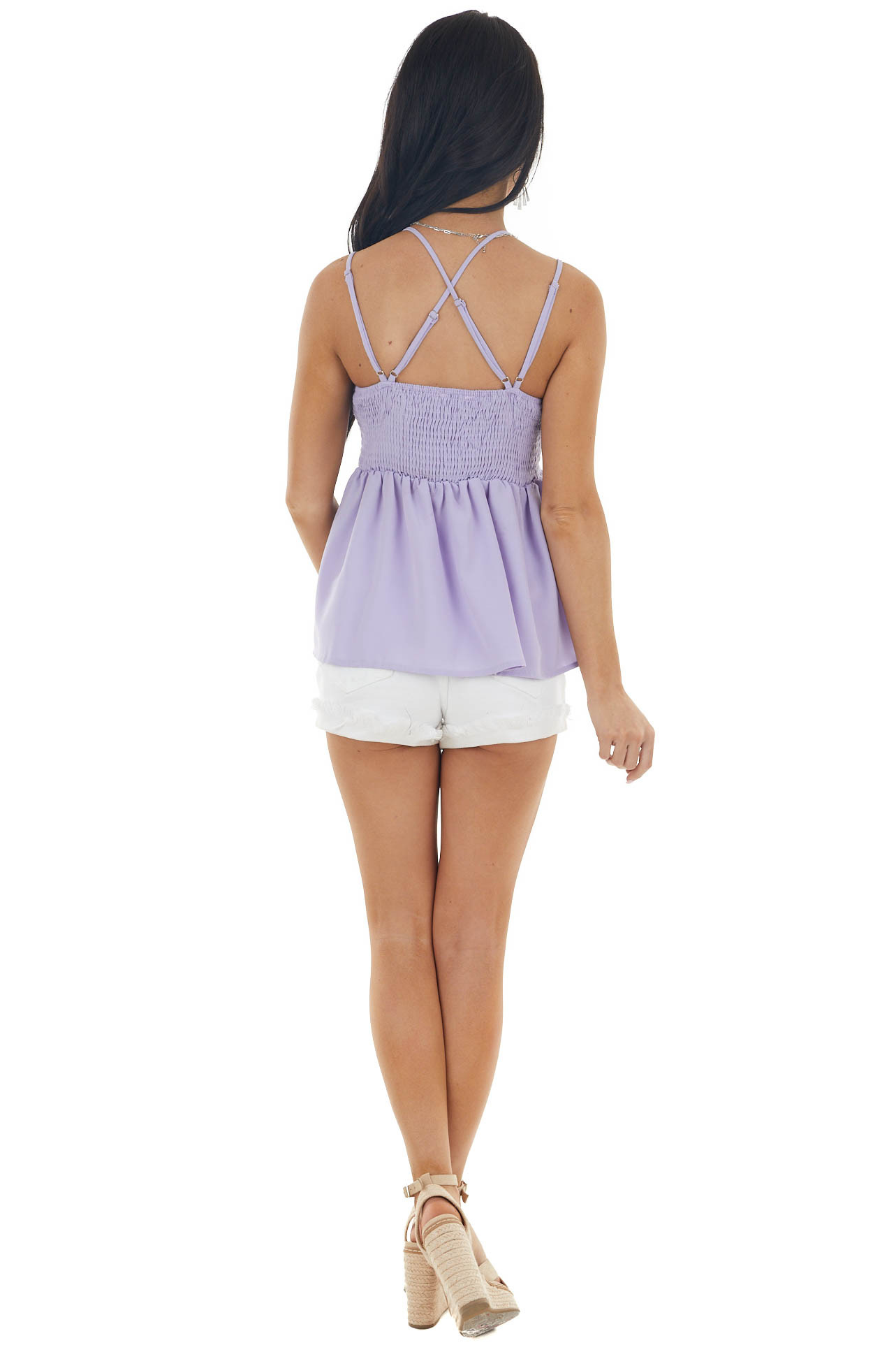 Lilac Babydoll Top with Lace Bust and Peekaboo Waist Detail